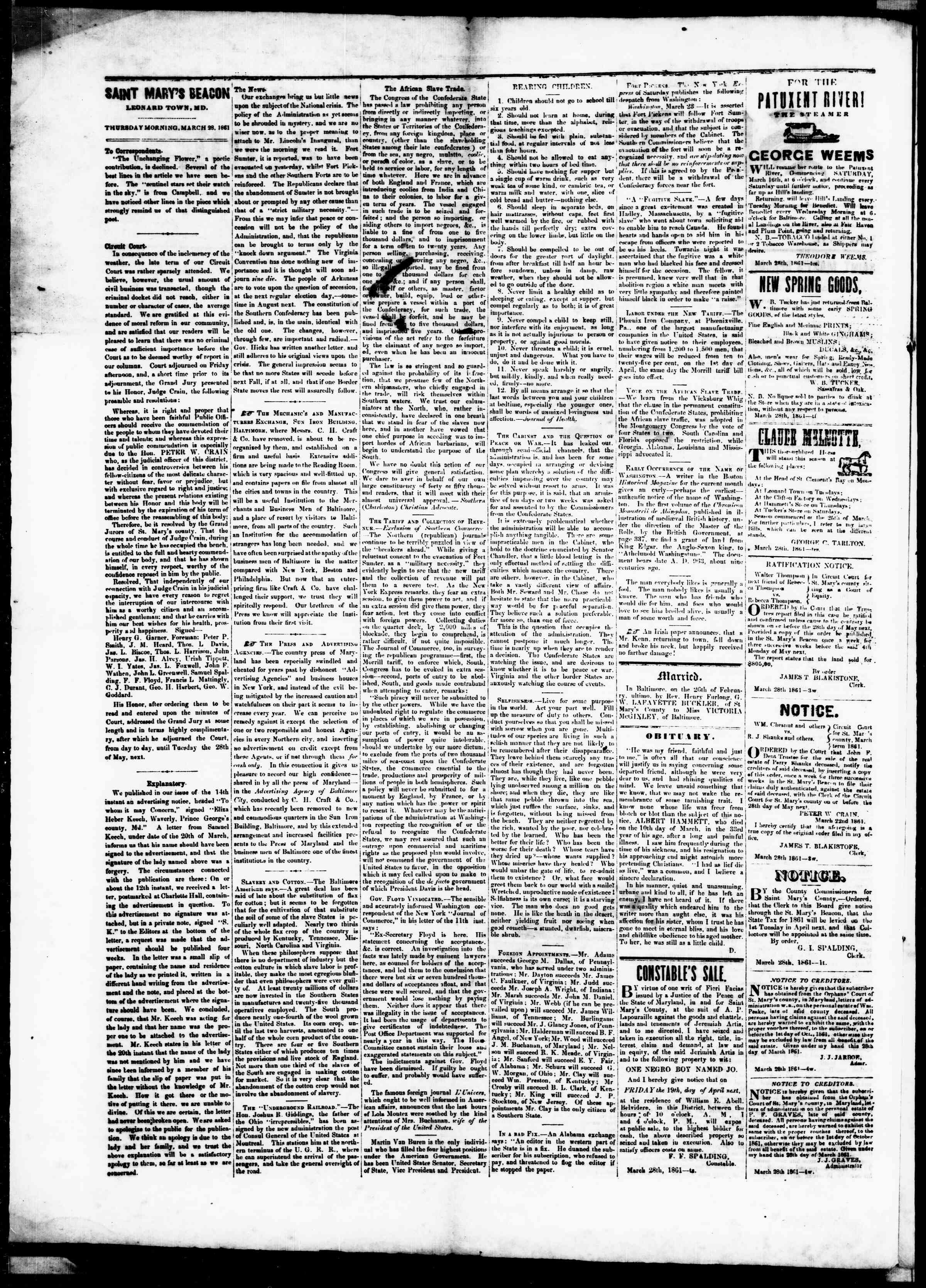 Newspaper of St. Mary's Beacon dated March 28, 1861 Page 2