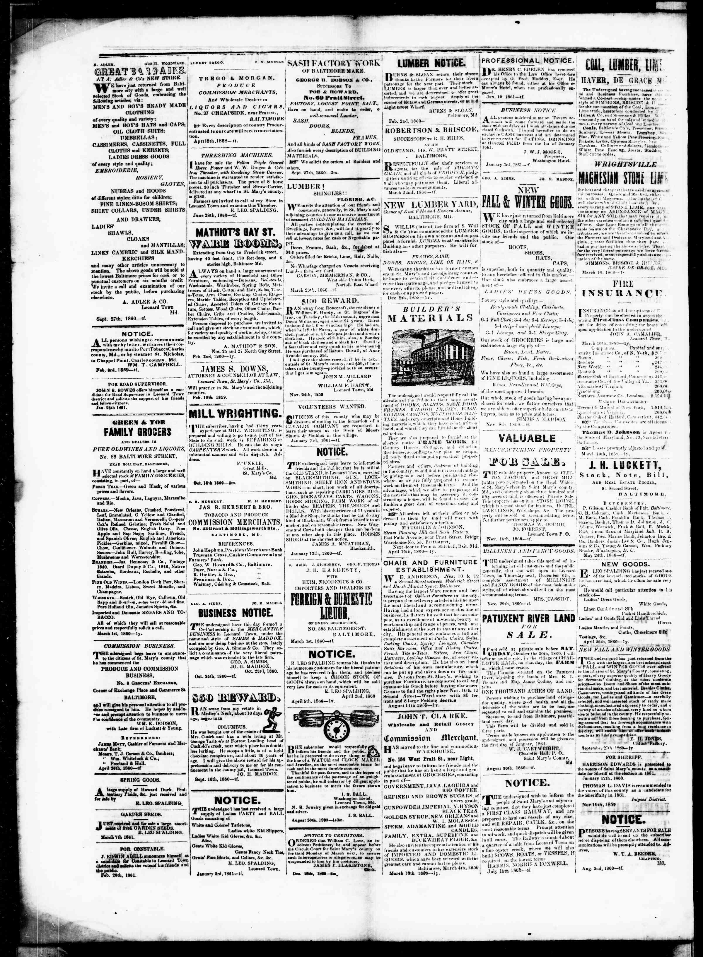 Newspaper of St. Mary's Beacon dated March 28, 1861 Page 4