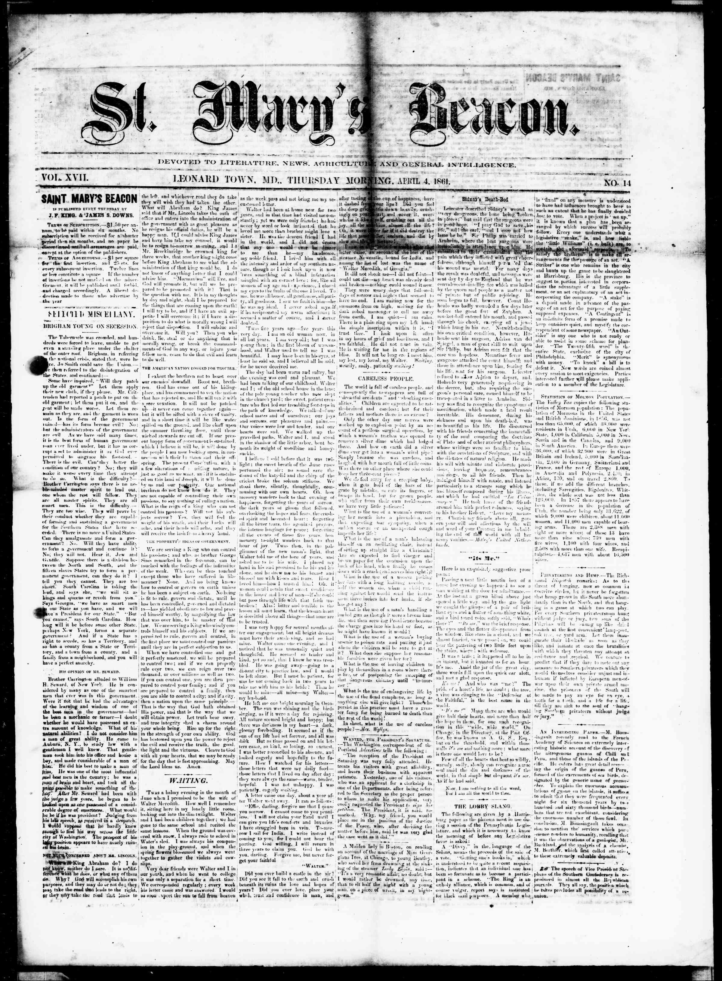 Newspaper of St. Mary's Beacon dated April 4, 1861 Page 1