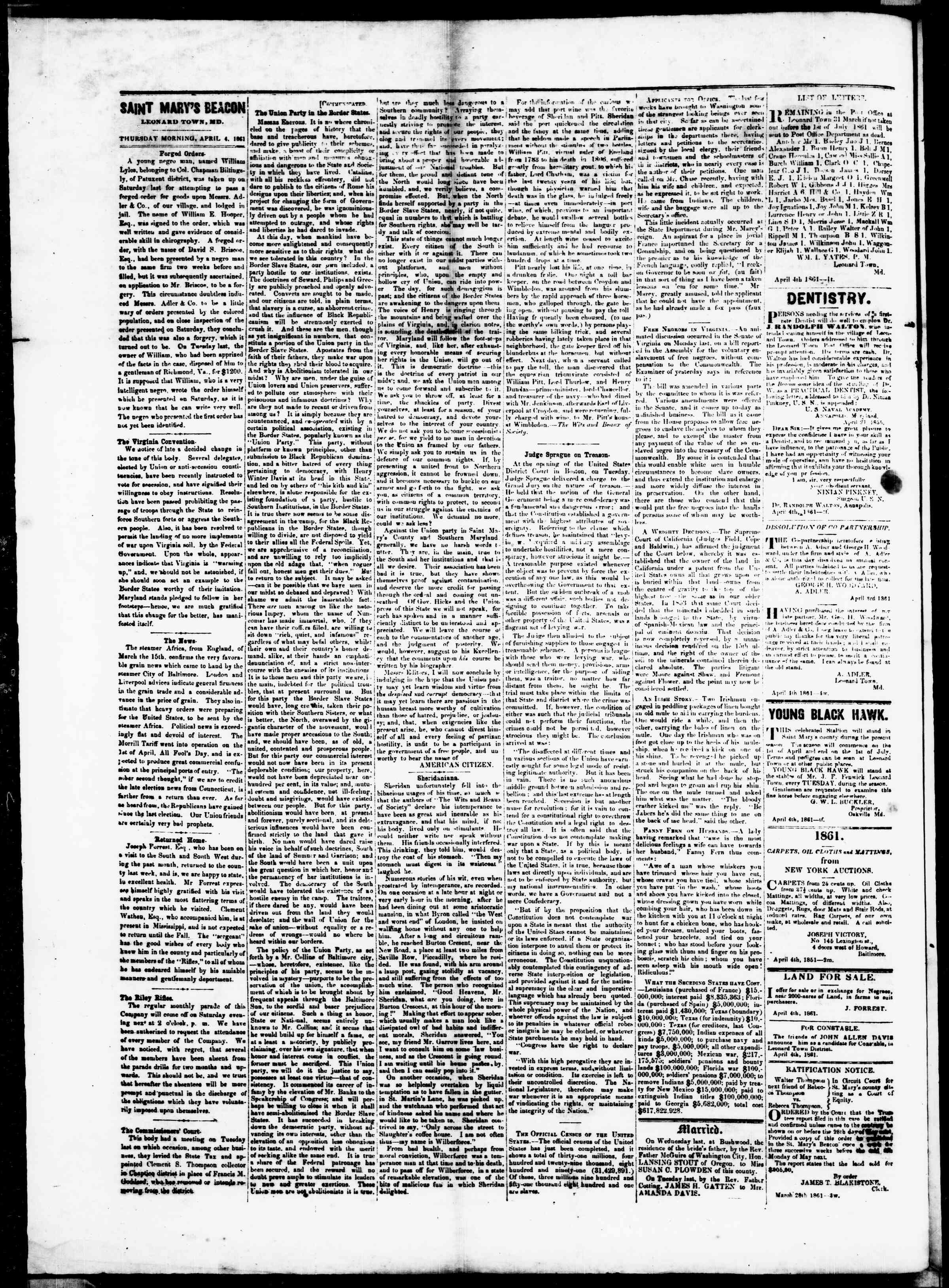 Newspaper of St. Mary's Beacon dated April 4, 1861 Page 2