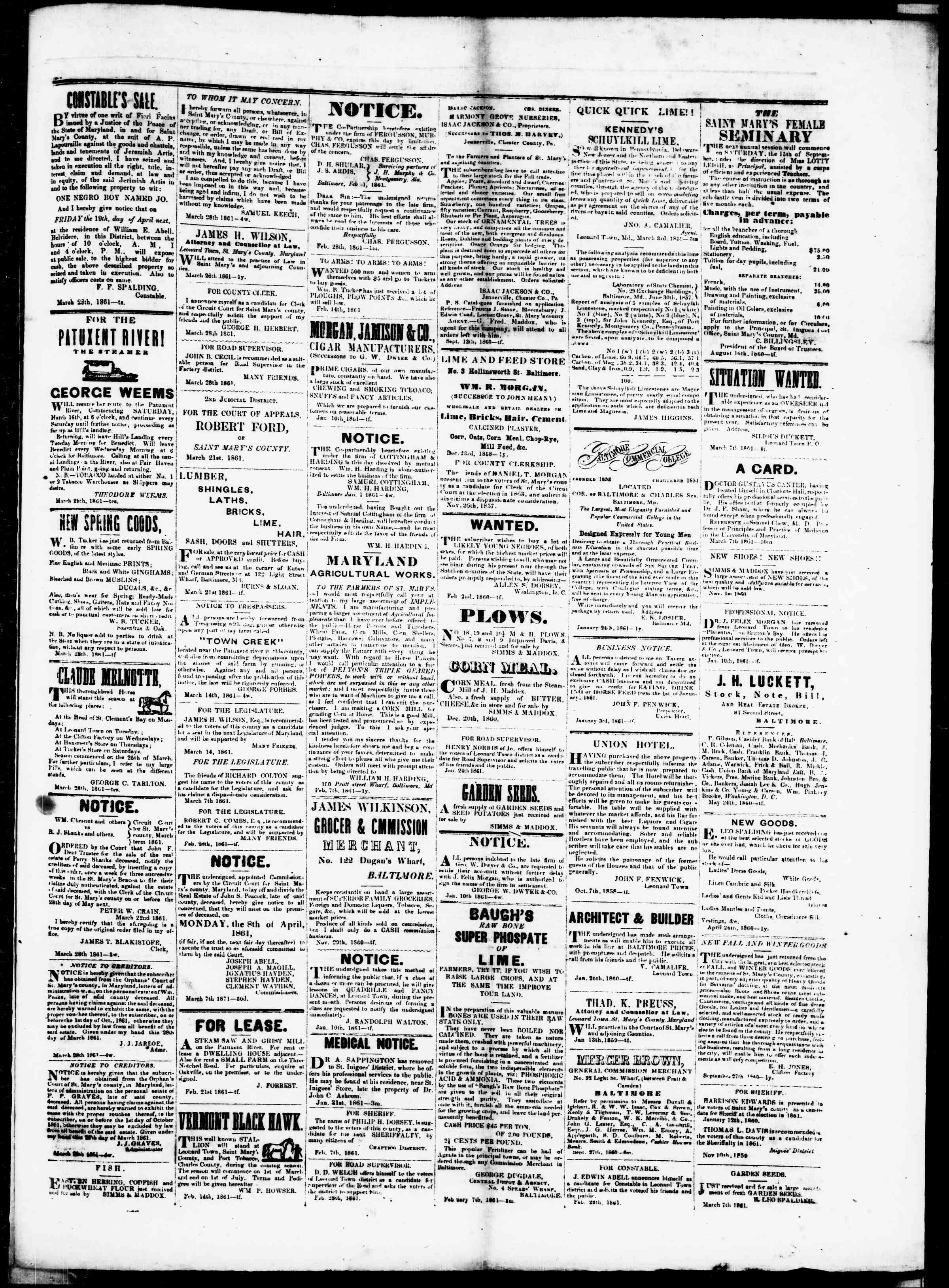 Newspaper of St. Mary's Beacon dated April 4, 1861 Page 3