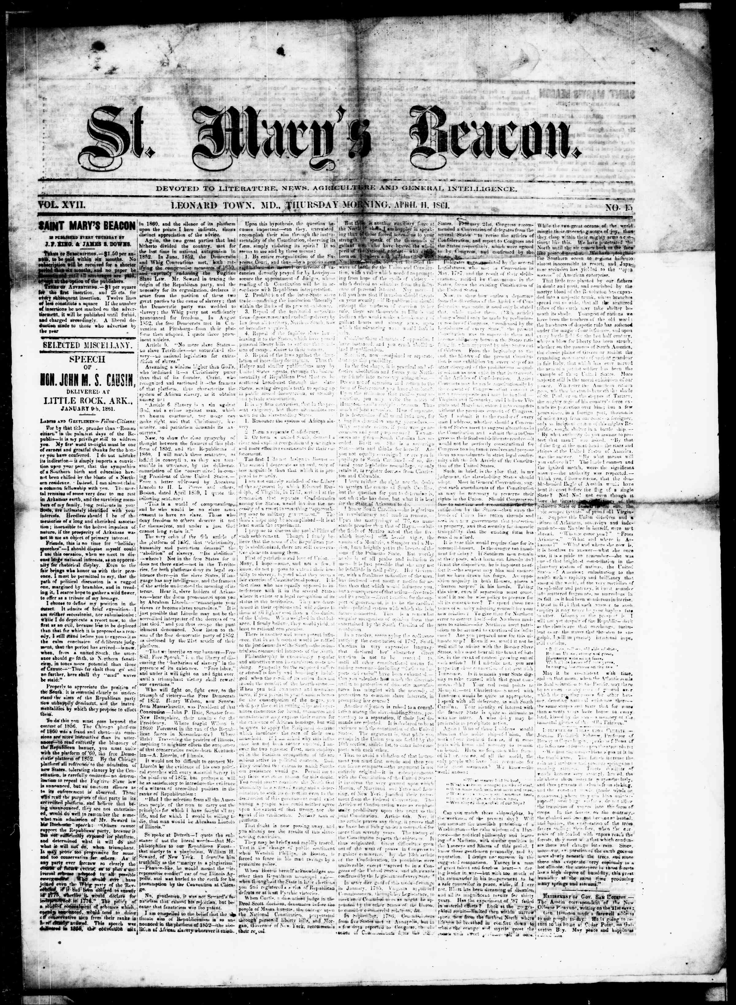 Newspaper of St. Mary's Beacon dated April 11, 1861 Page 1