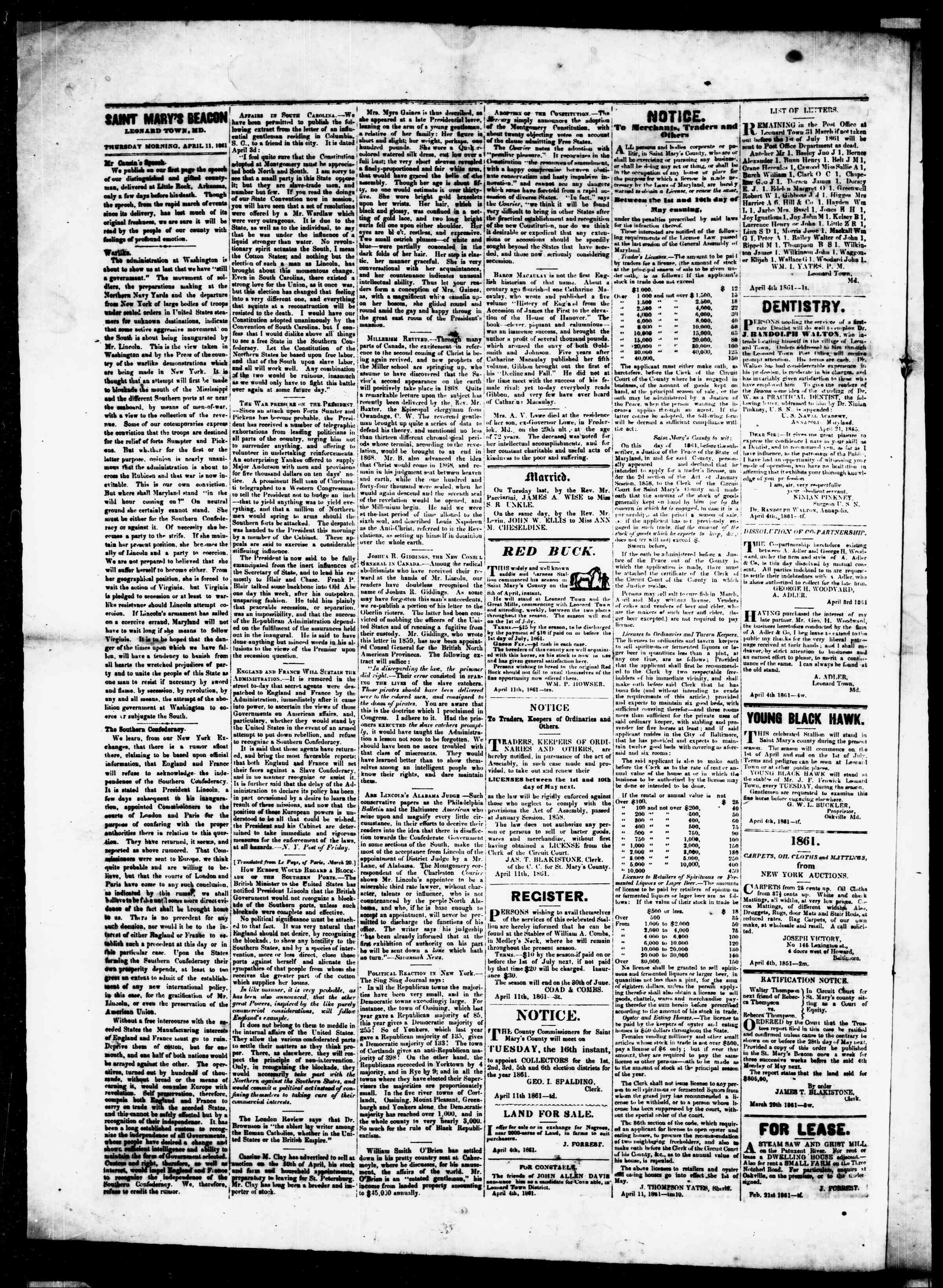 Newspaper of St. Mary's Beacon dated April 11, 1861 Page 4