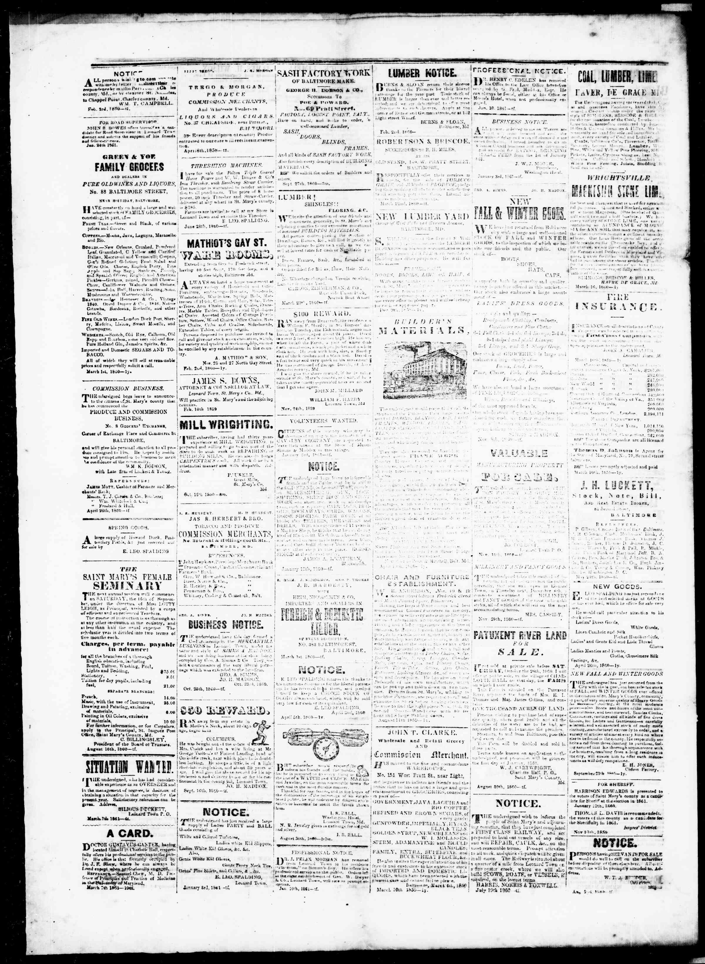 Newspaper of St. Mary's Beacon dated April 11, 1861 Page 5