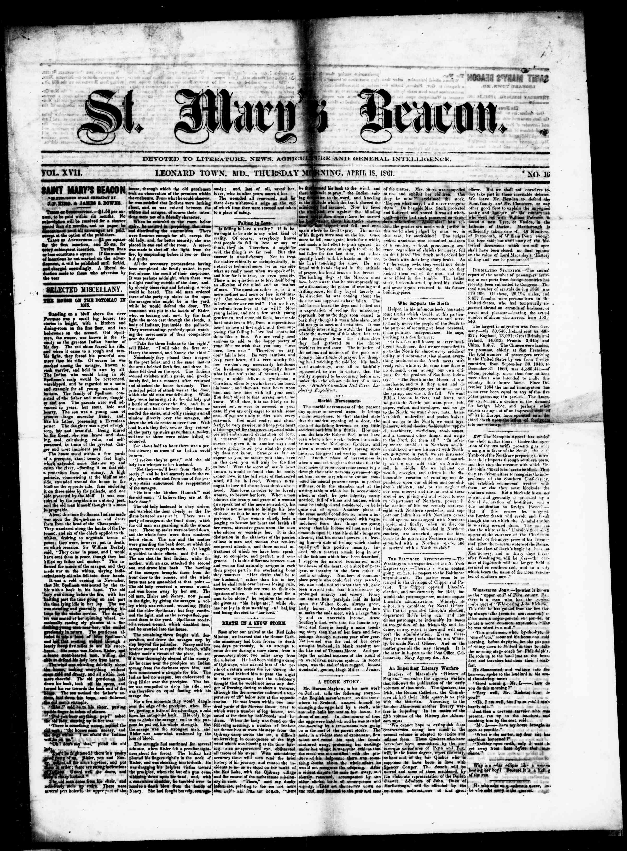 Newspaper of St. Mary's Beacon dated April 18, 1861 Page 1