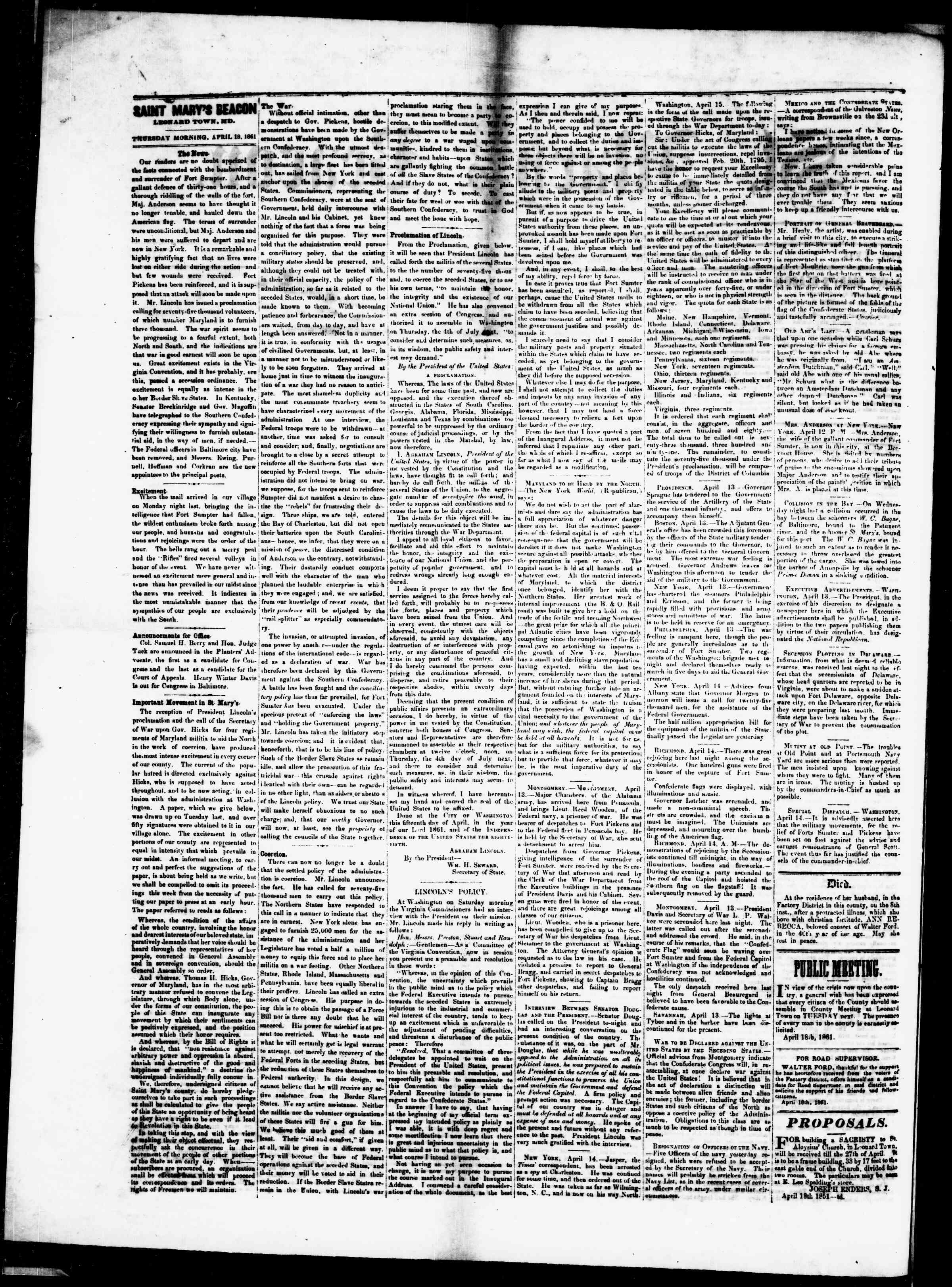 Newspaper of St. Mary's Beacon dated April 18, 1861 Page 2