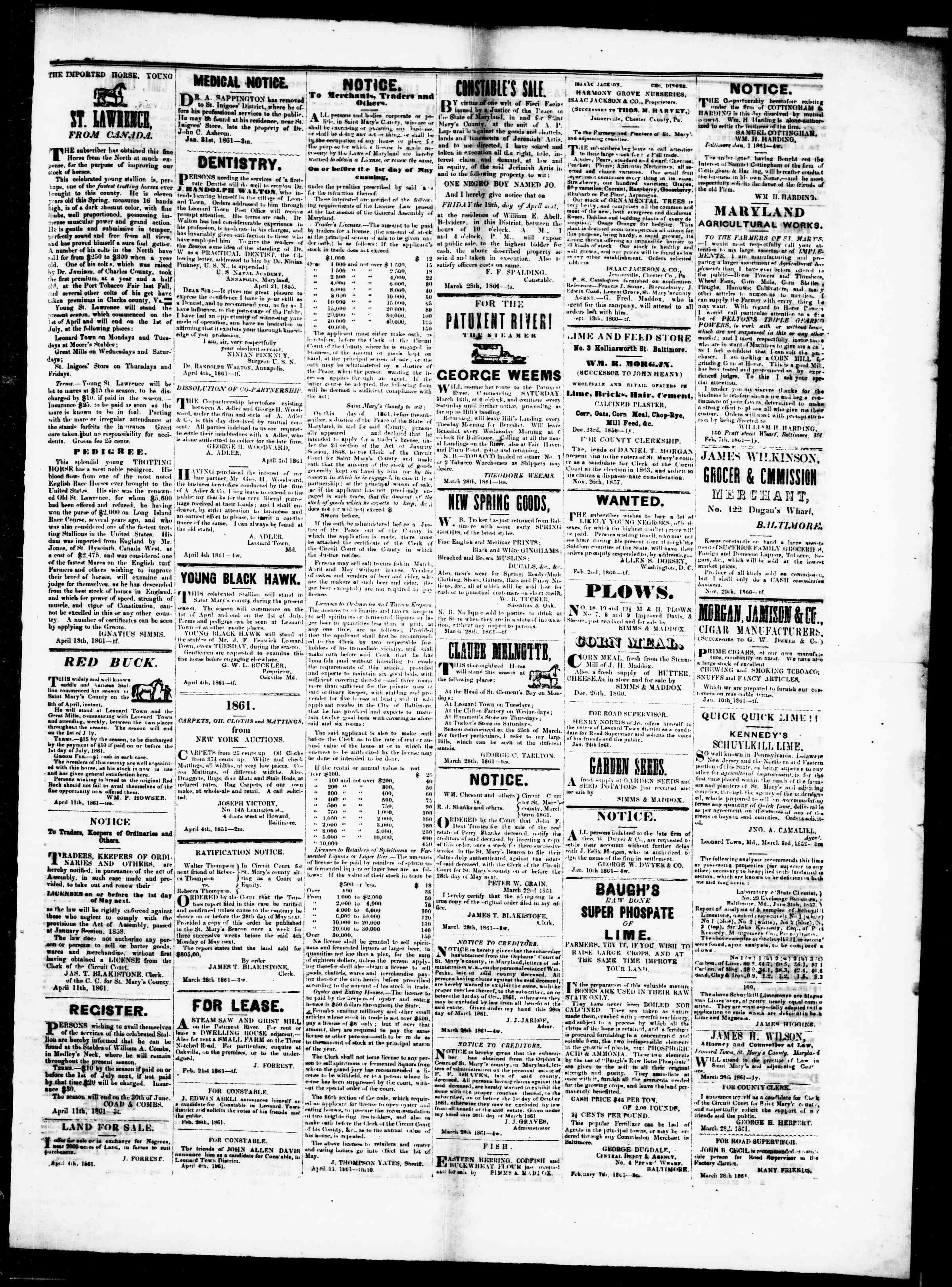 Newspaper of St. Mary's Beacon dated April 18, 1861 Page 3