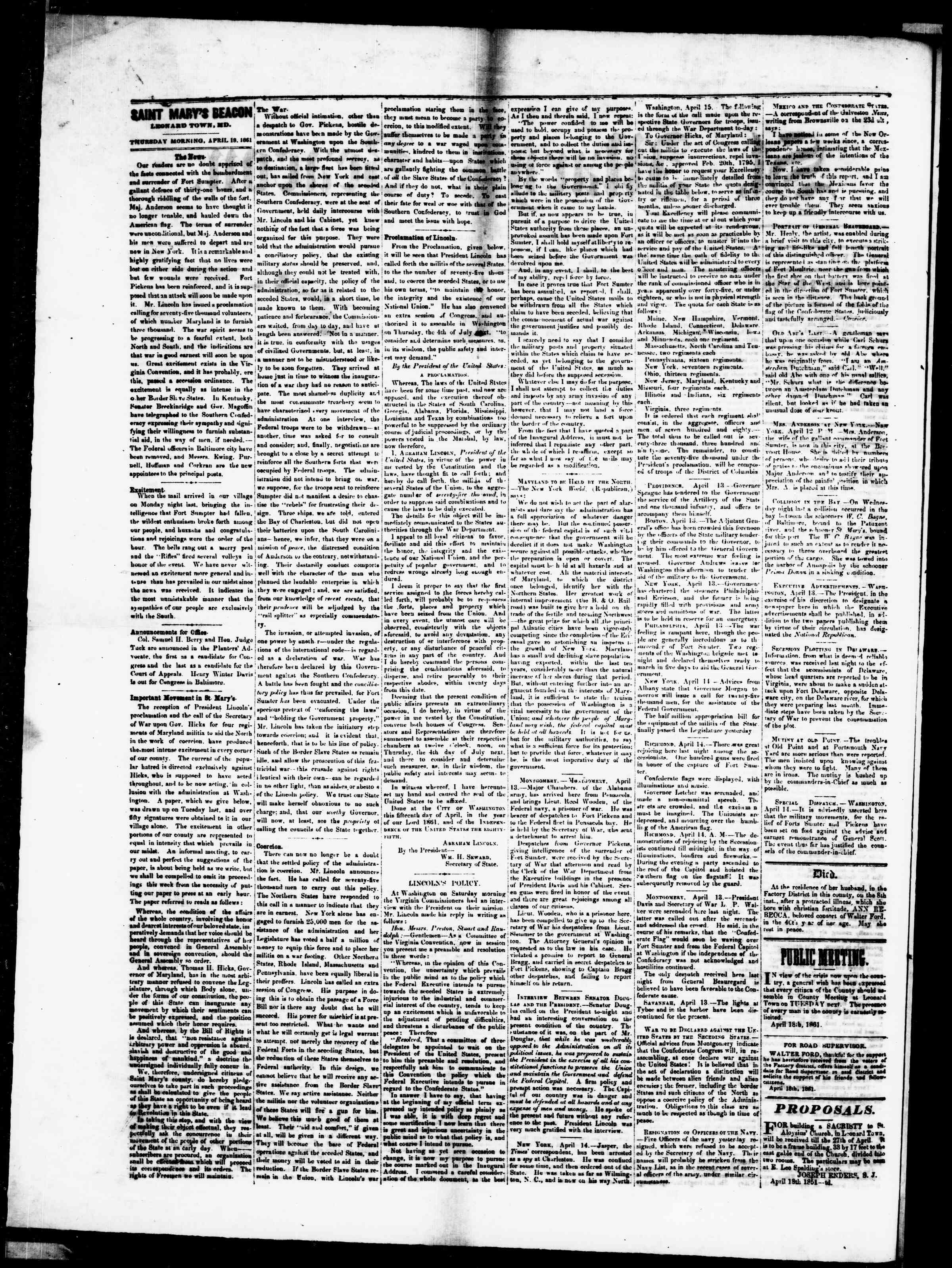 Newspaper of St. Mary's Beacon dated April 18, 1861 Page 4