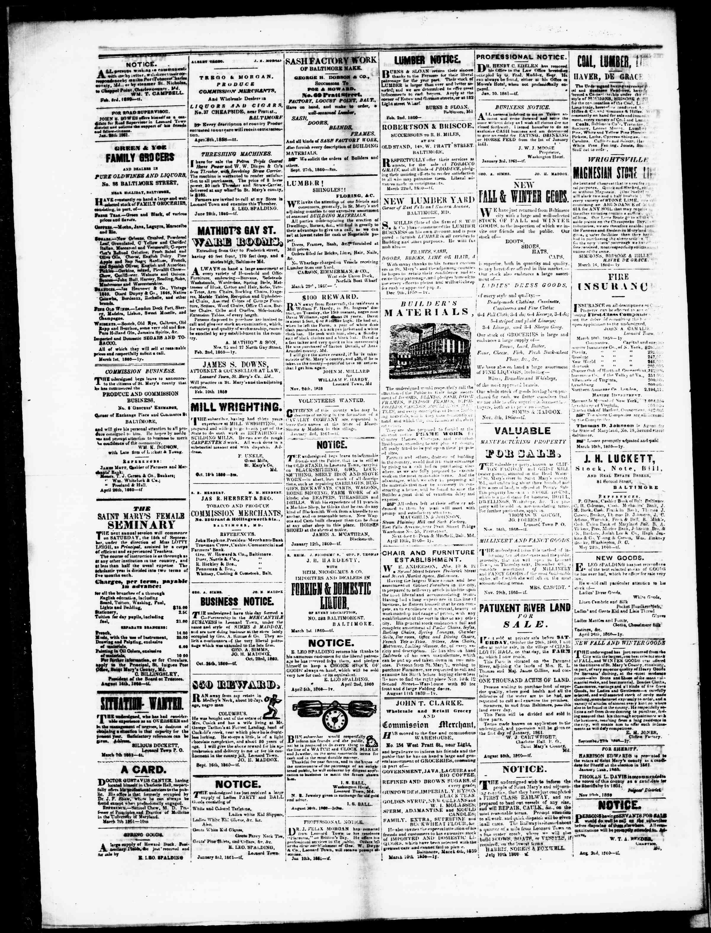 Newspaper of St. Mary's Beacon dated April 18, 1861 Page 5
