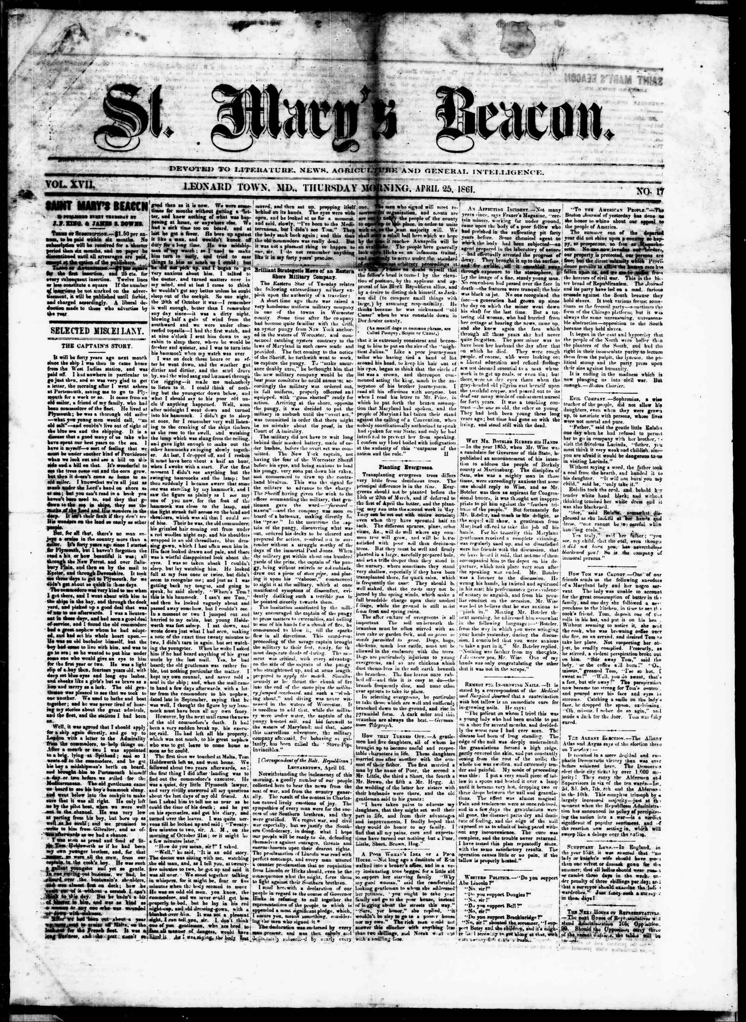 Newspaper of St. Mary's Beacon dated April 25, 1861 Page 1