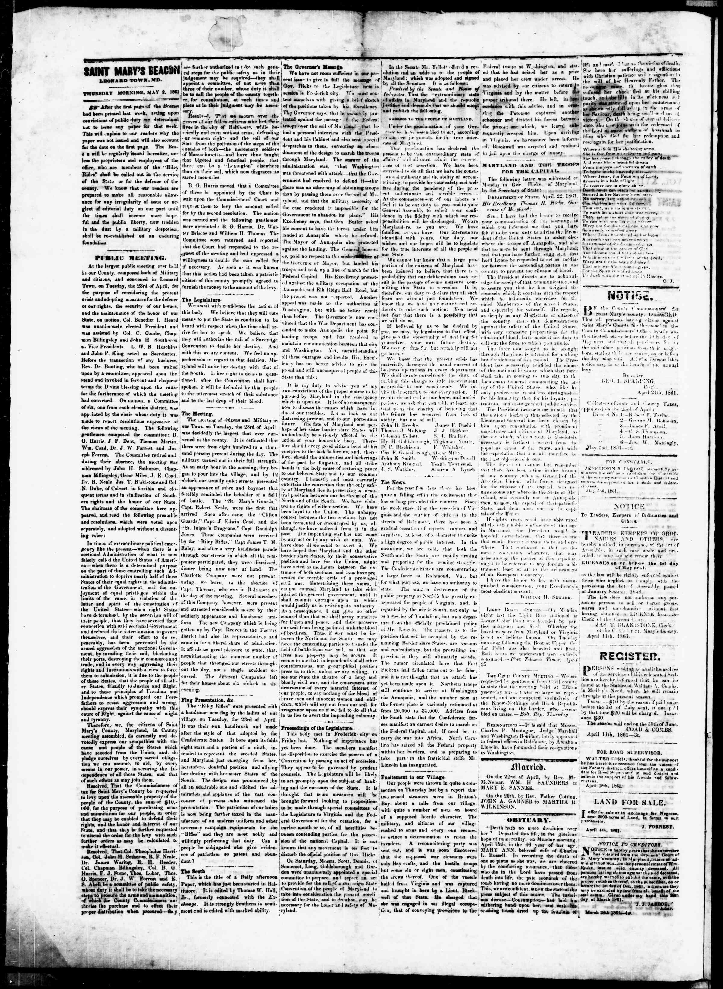 Newspaper of St. Mary's Beacon dated April 25, 1861 Page 2