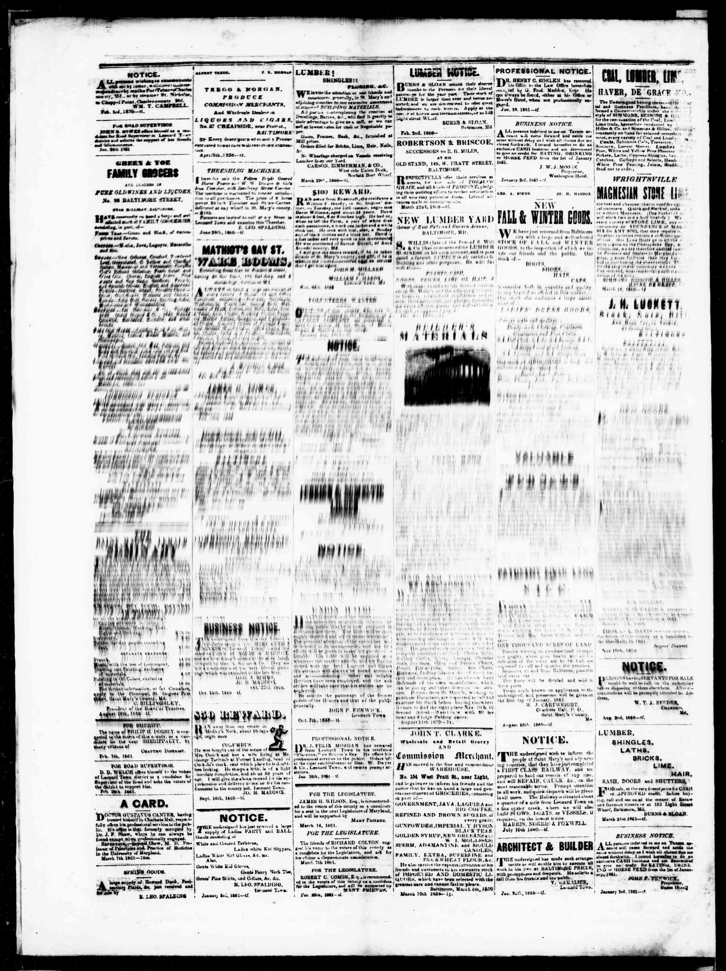 Newspaper of St. Mary's Beacon dated April 25, 1861 Page 4