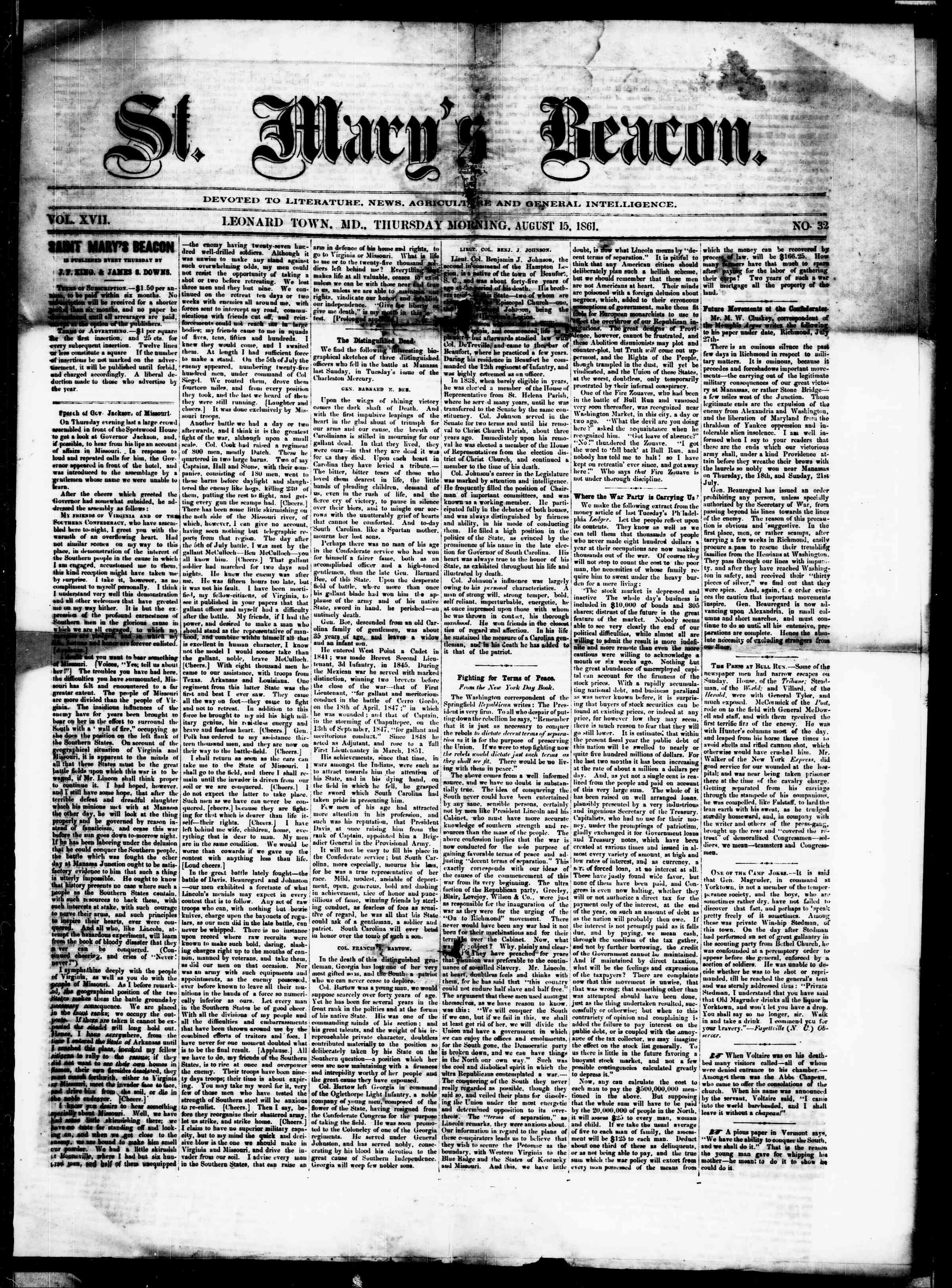 Newspaper of St. Mary's Beacon dated August 15, 1861 Page 1