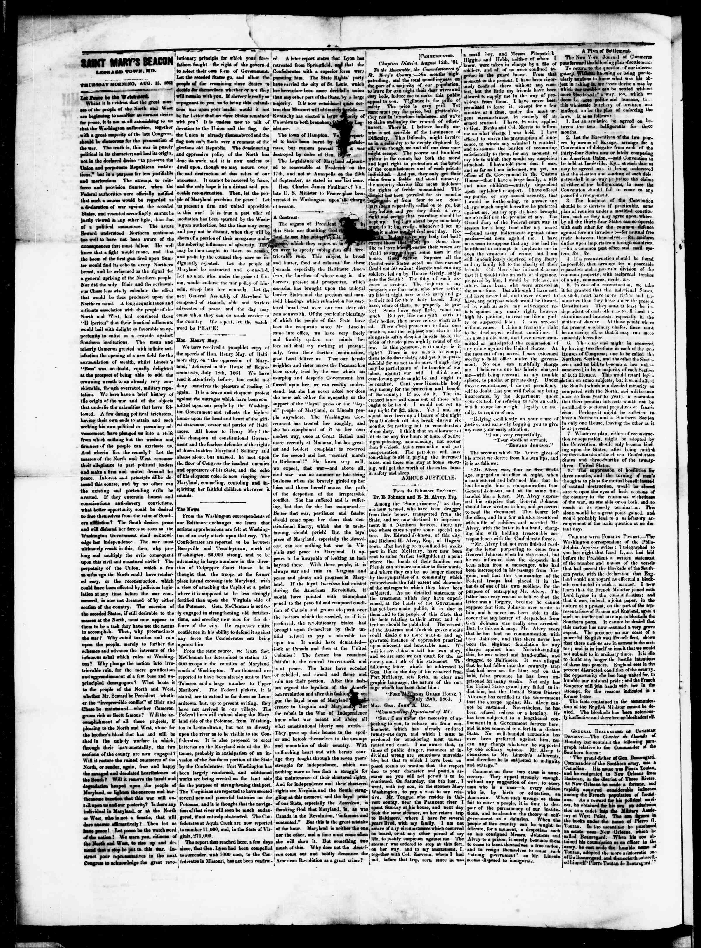 Newspaper of St. Mary's Beacon dated August 15, 1861 Page 2