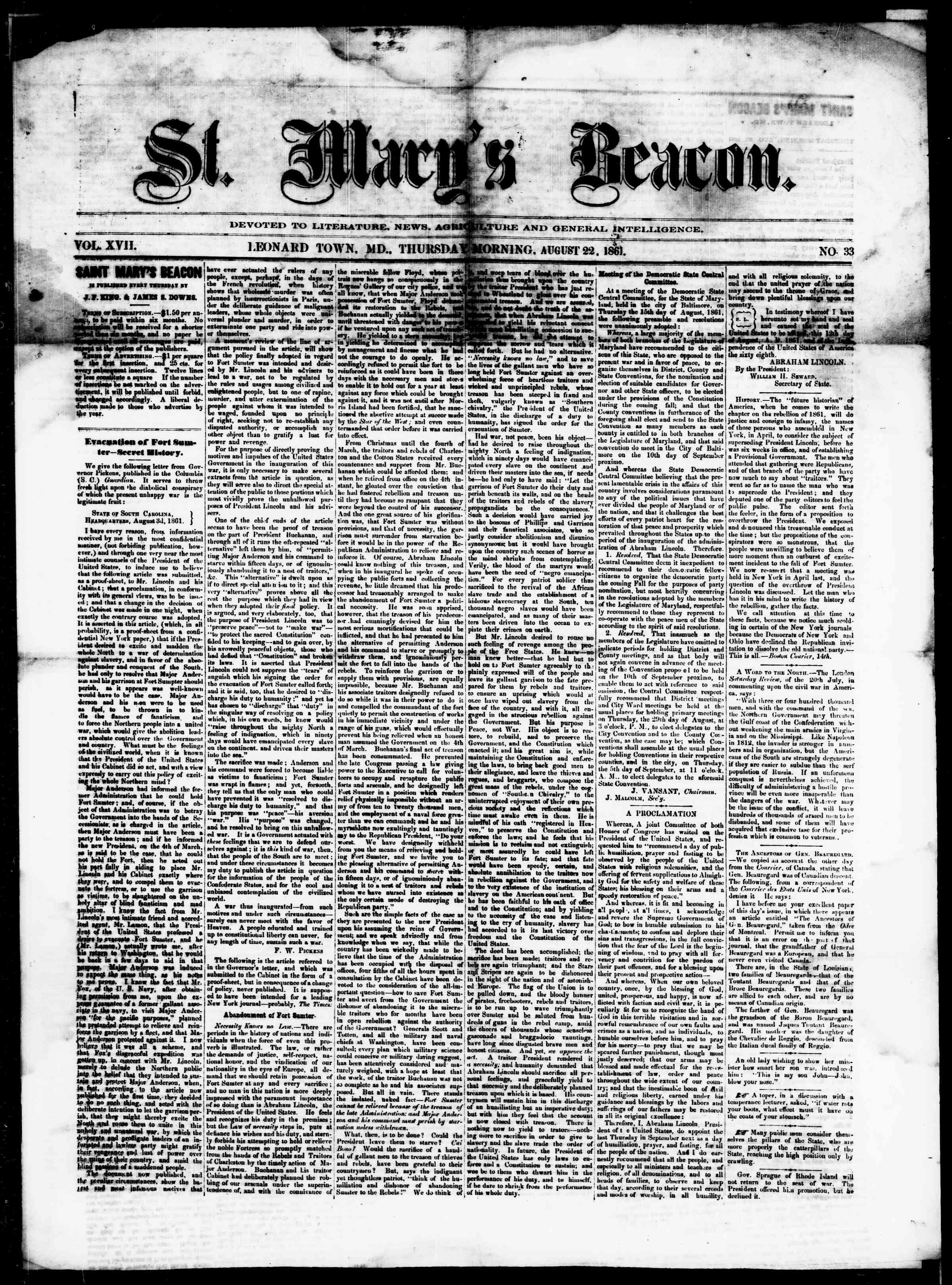 Newspaper of St. Mary's Beacon dated August 22, 1861 Page 1