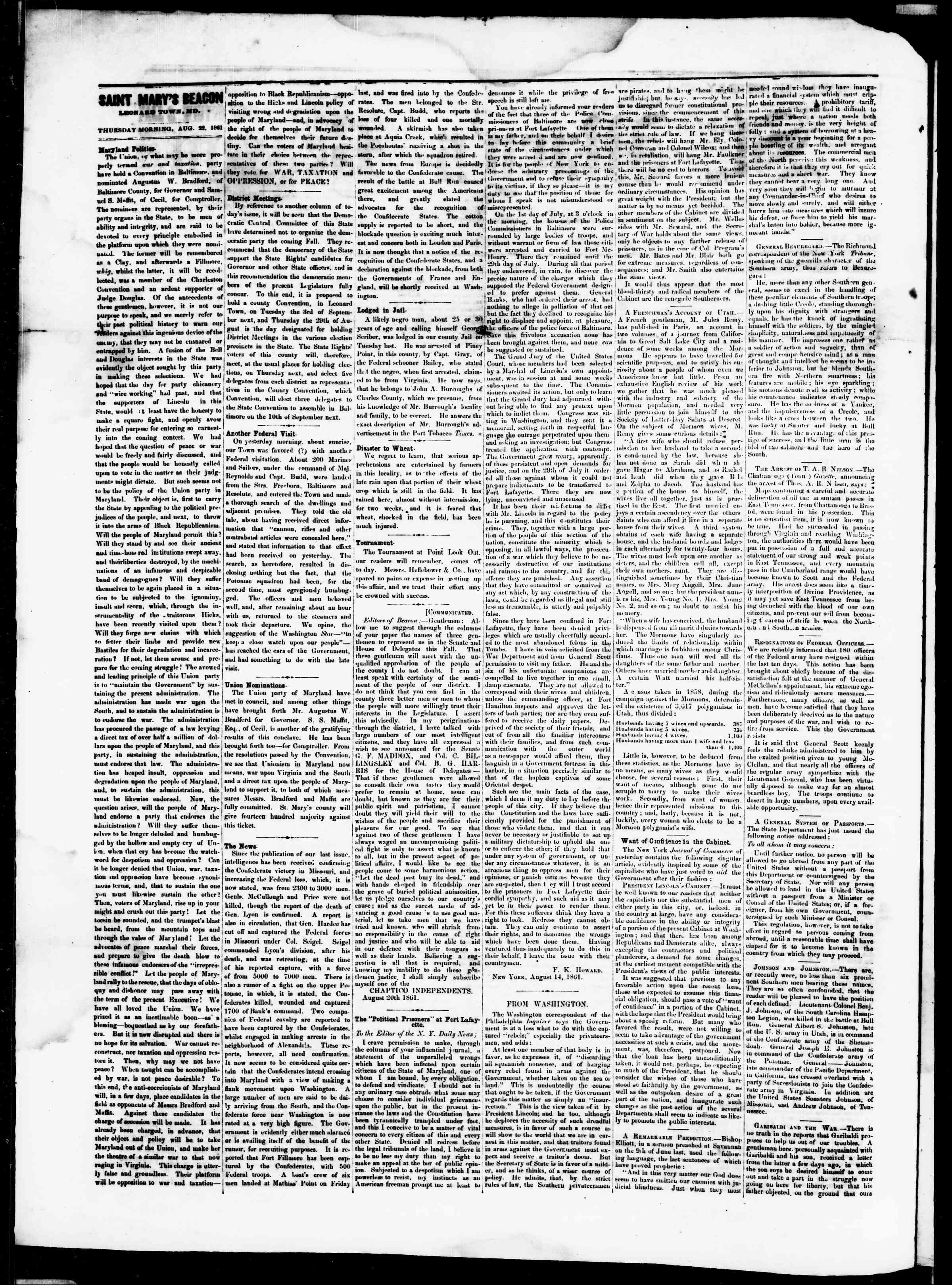 Newspaper of St. Mary's Beacon dated August 22, 1861 Page 2