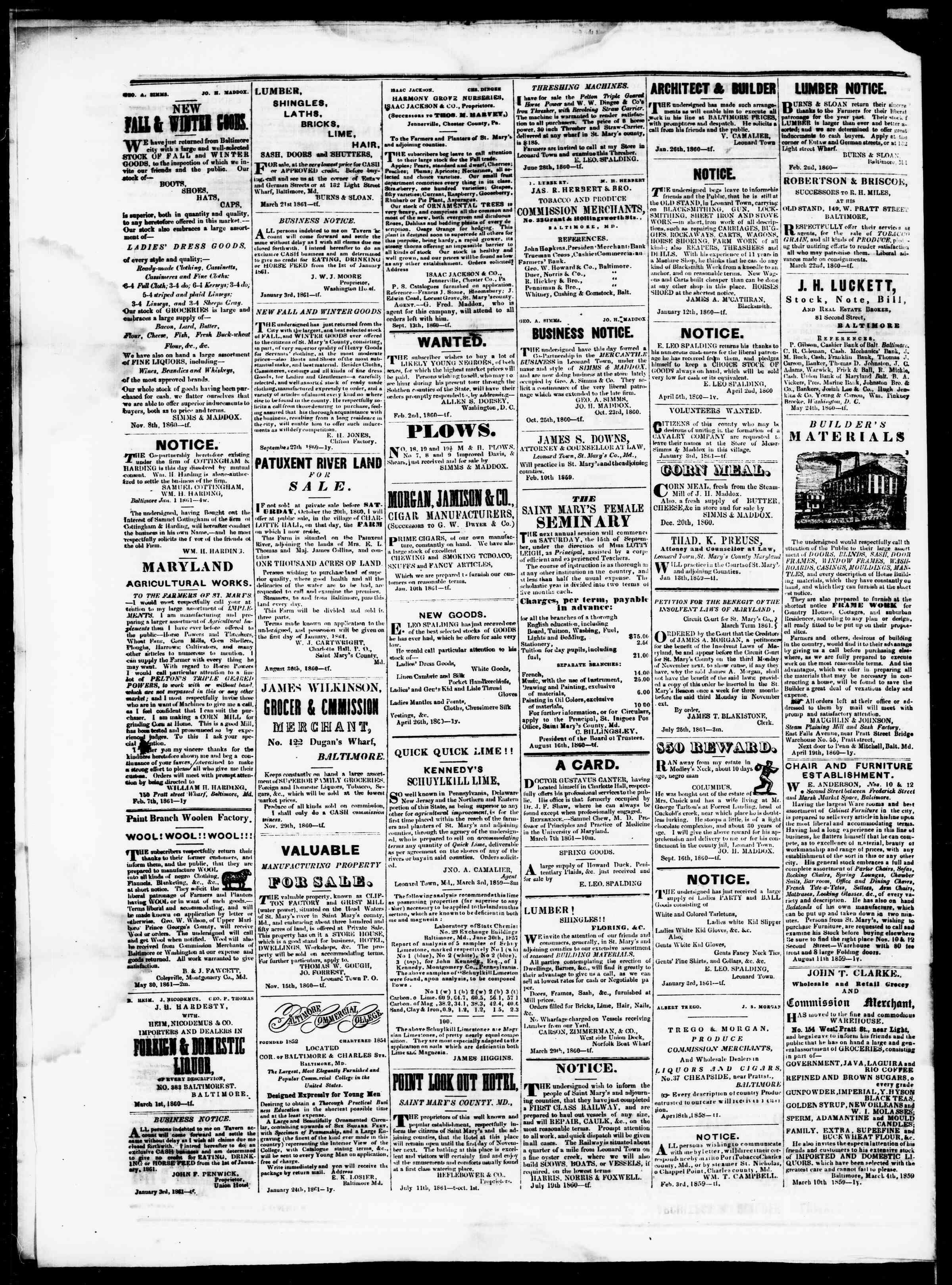 Newspaper of St. Mary's Beacon dated August 22, 1861 Page 4