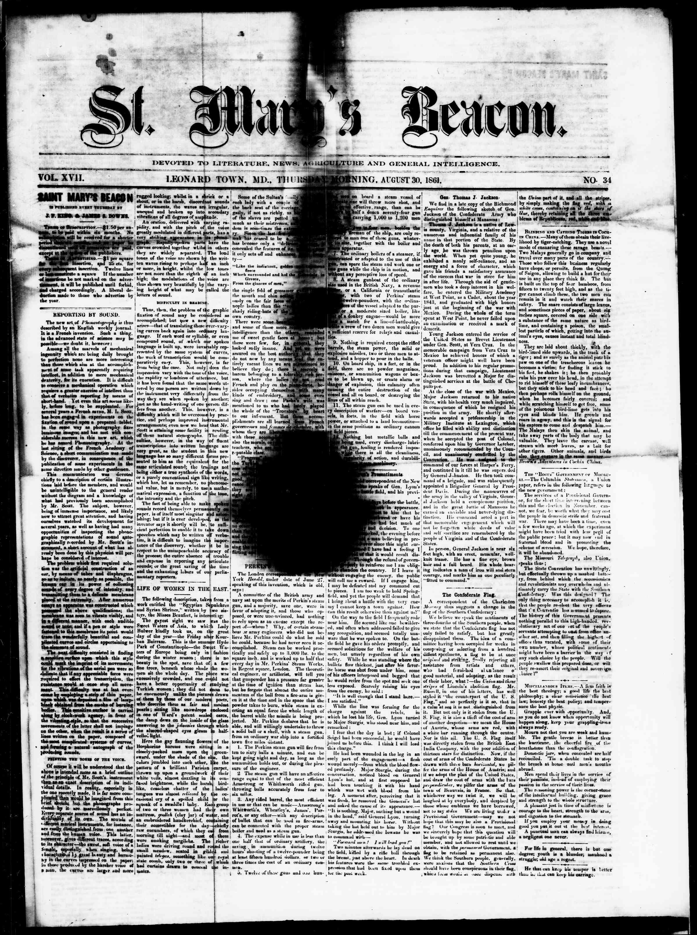 Newspaper of St. Mary's Beacon dated August 30, 1861 Page 1