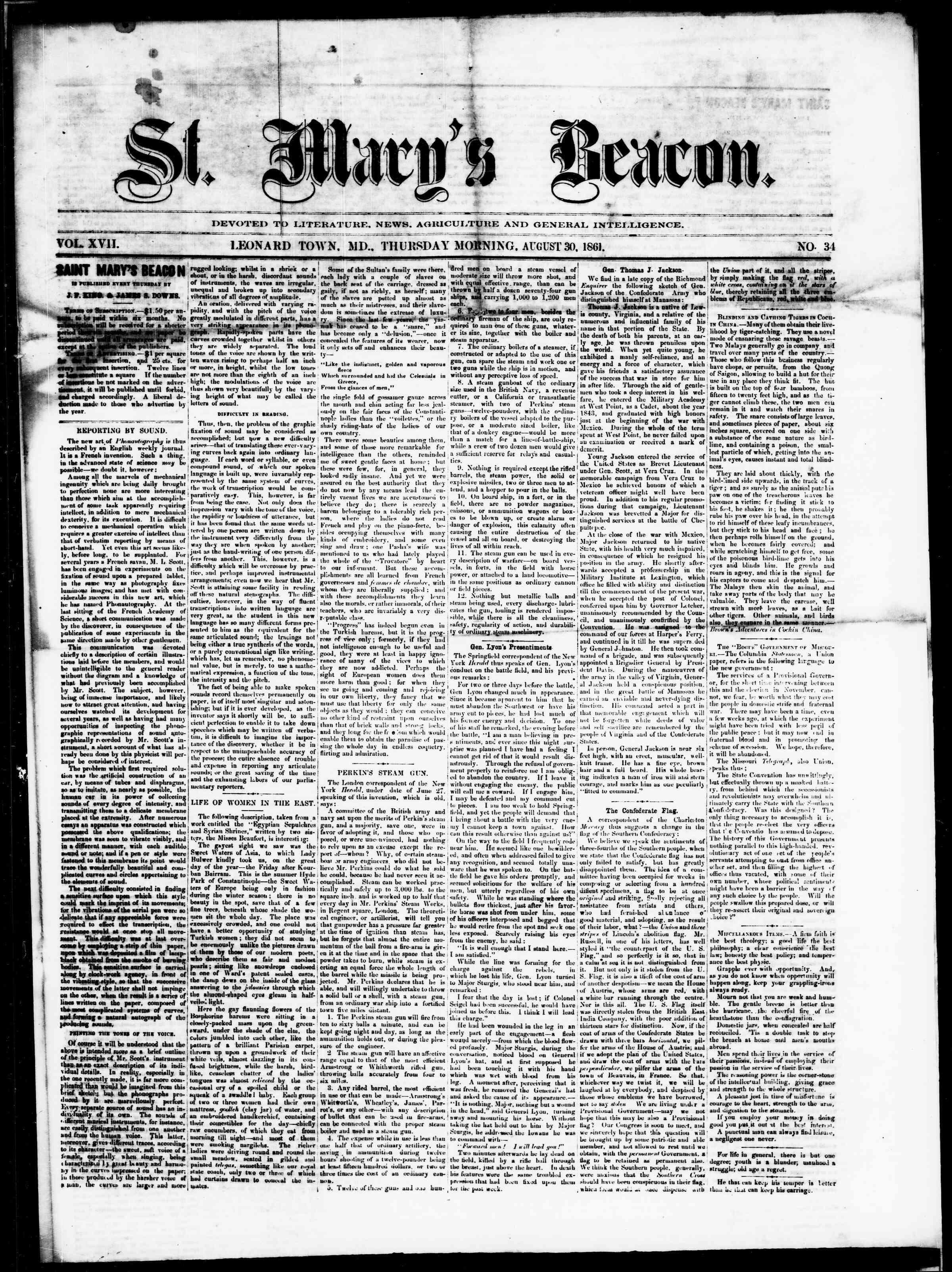 30 Ağustos 1861 tarihli St. Mary's Beacon Gazetesi Sayfa 2