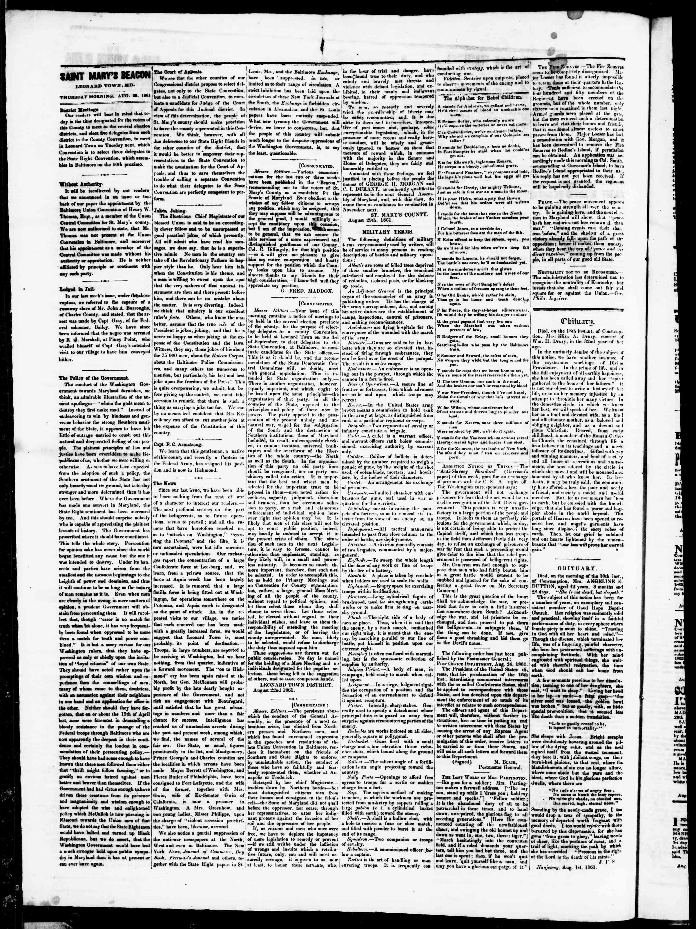 Newspaper of St. Mary's Beacon dated August 30, 1861 Page 3