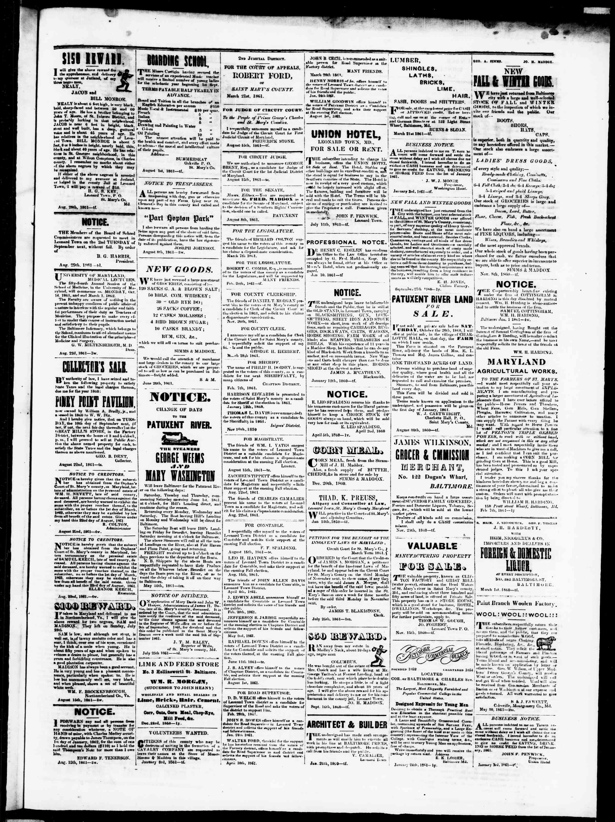 Newspaper of St. Mary's Beacon dated August 30, 1861 Page 4