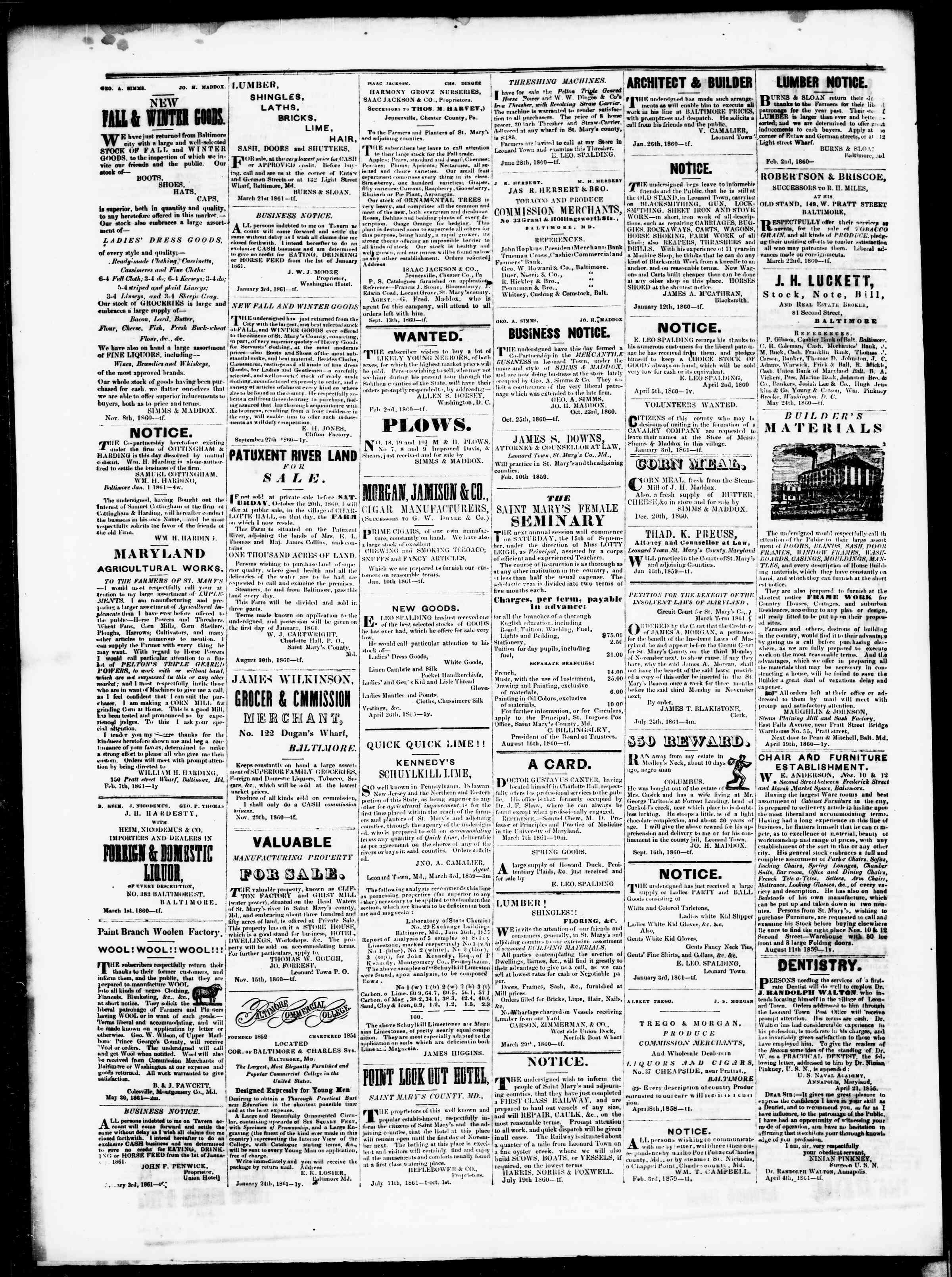 Newspaper of St. Mary's Beacon dated August 30, 1861 Page 5