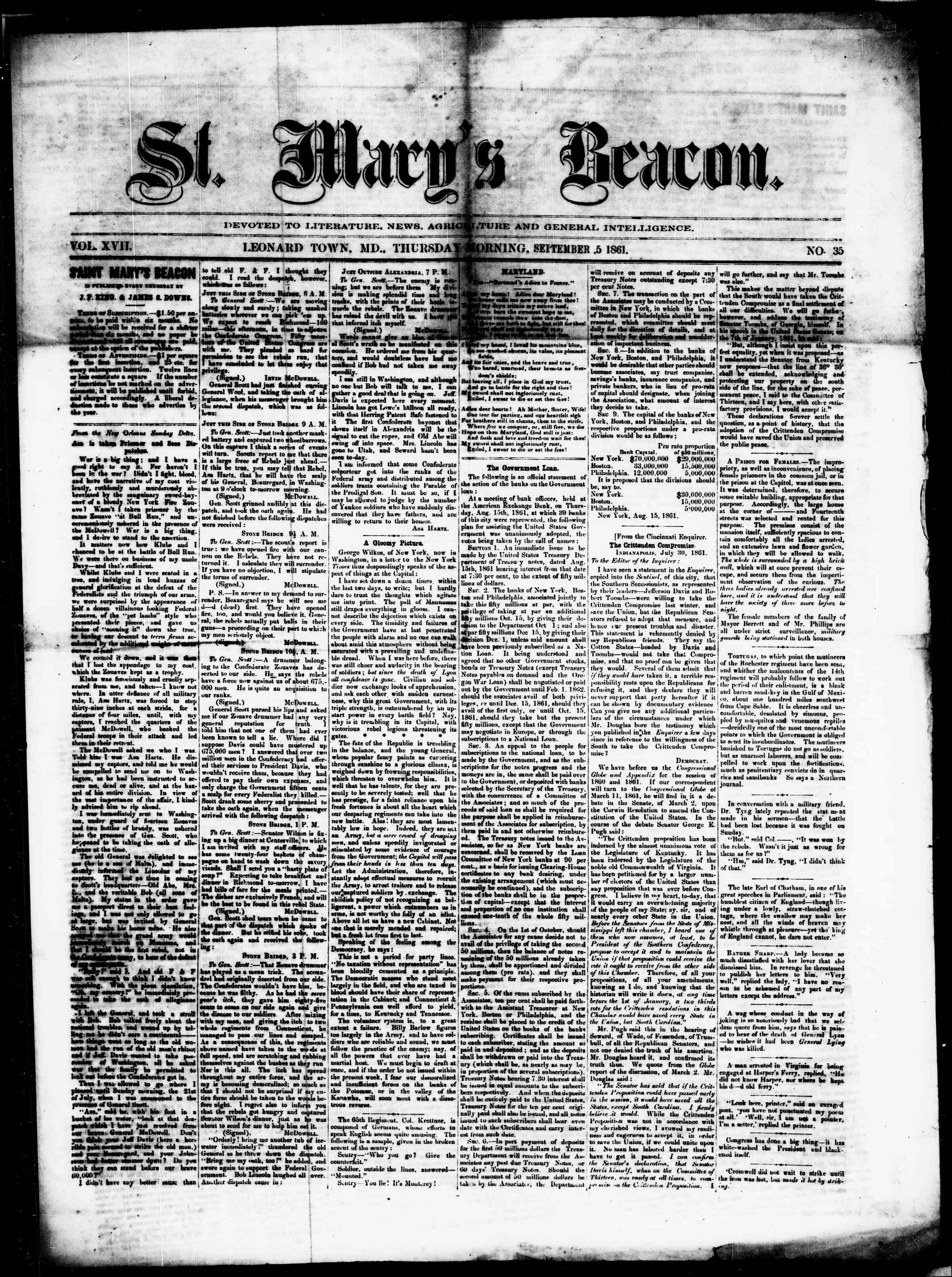 Newspaper of St. Mary's Beacon dated September 5, 1861 Page 1
