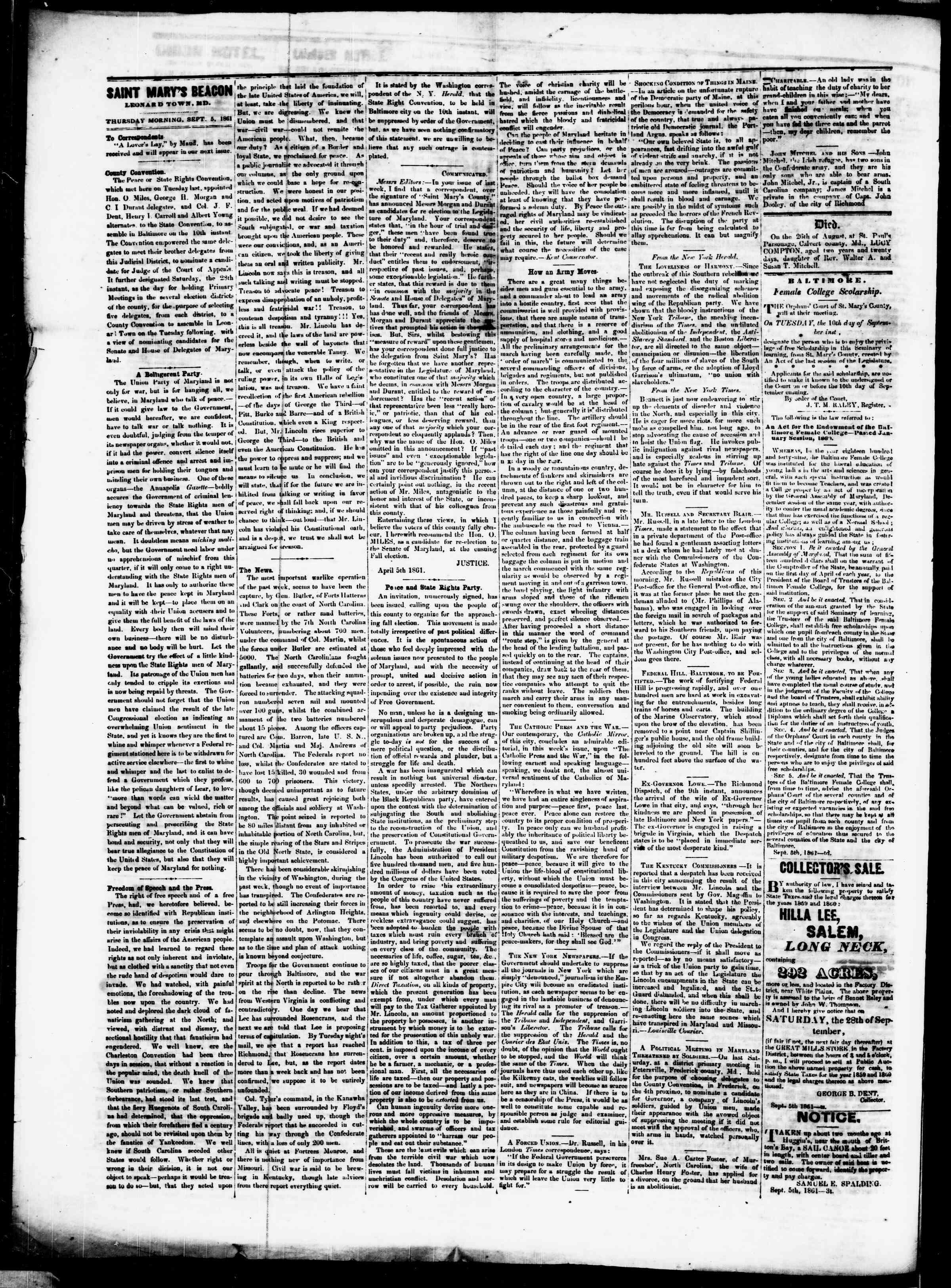 5 Eylül 1861 tarihli St. Mary's Beacon Gazetesi Sayfa 2