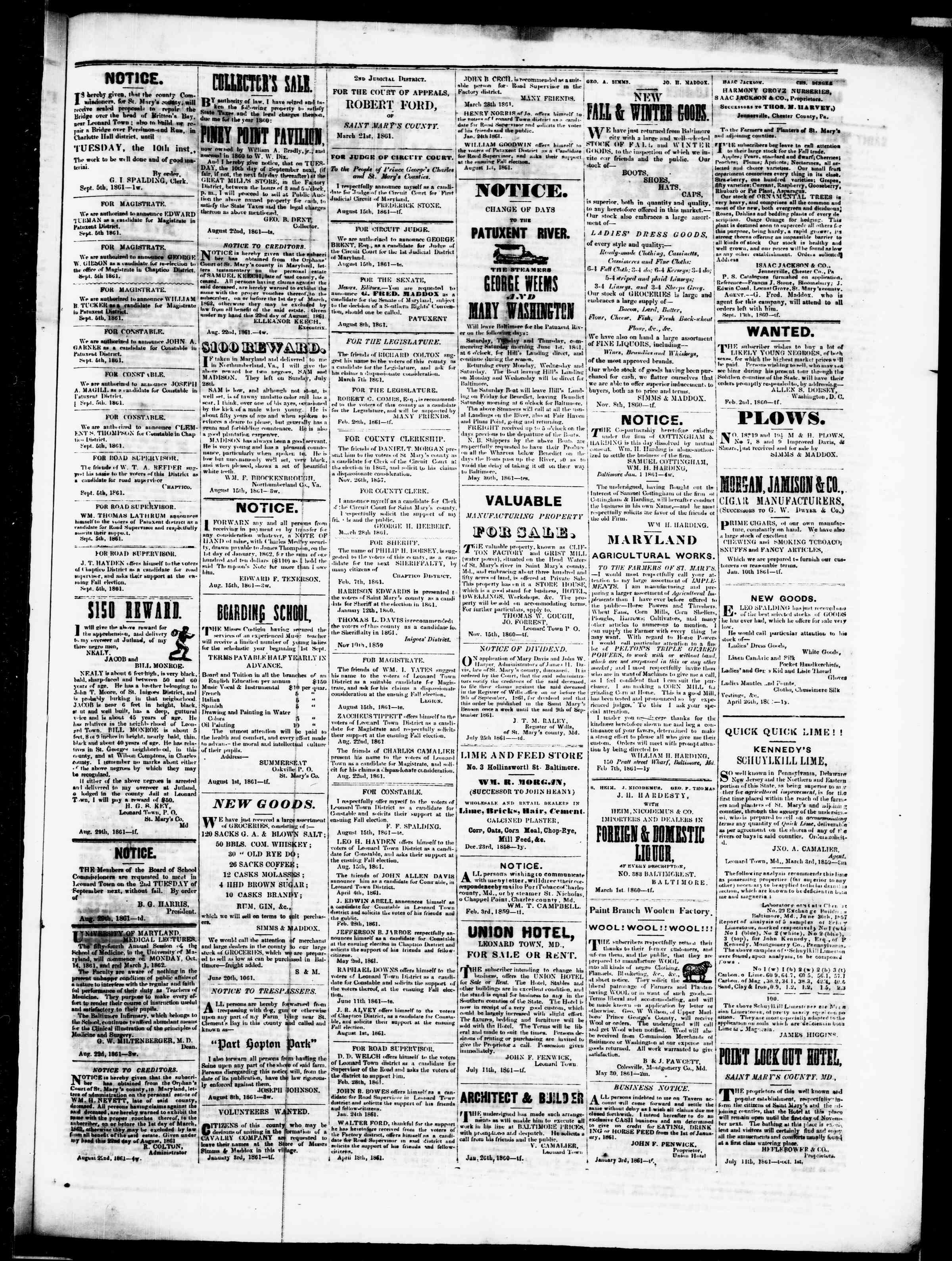Newspaper of St. Mary's Beacon dated September 5, 1861 Page 3
