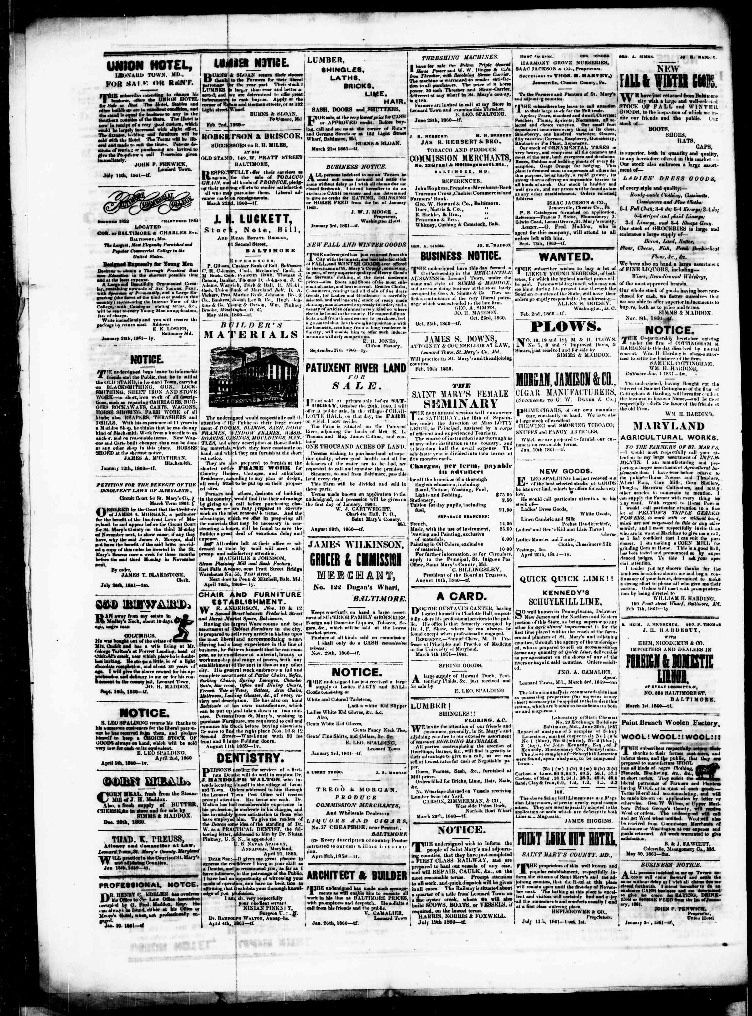 Newspaper of St. Mary's Beacon dated September 5, 1861 Page 4