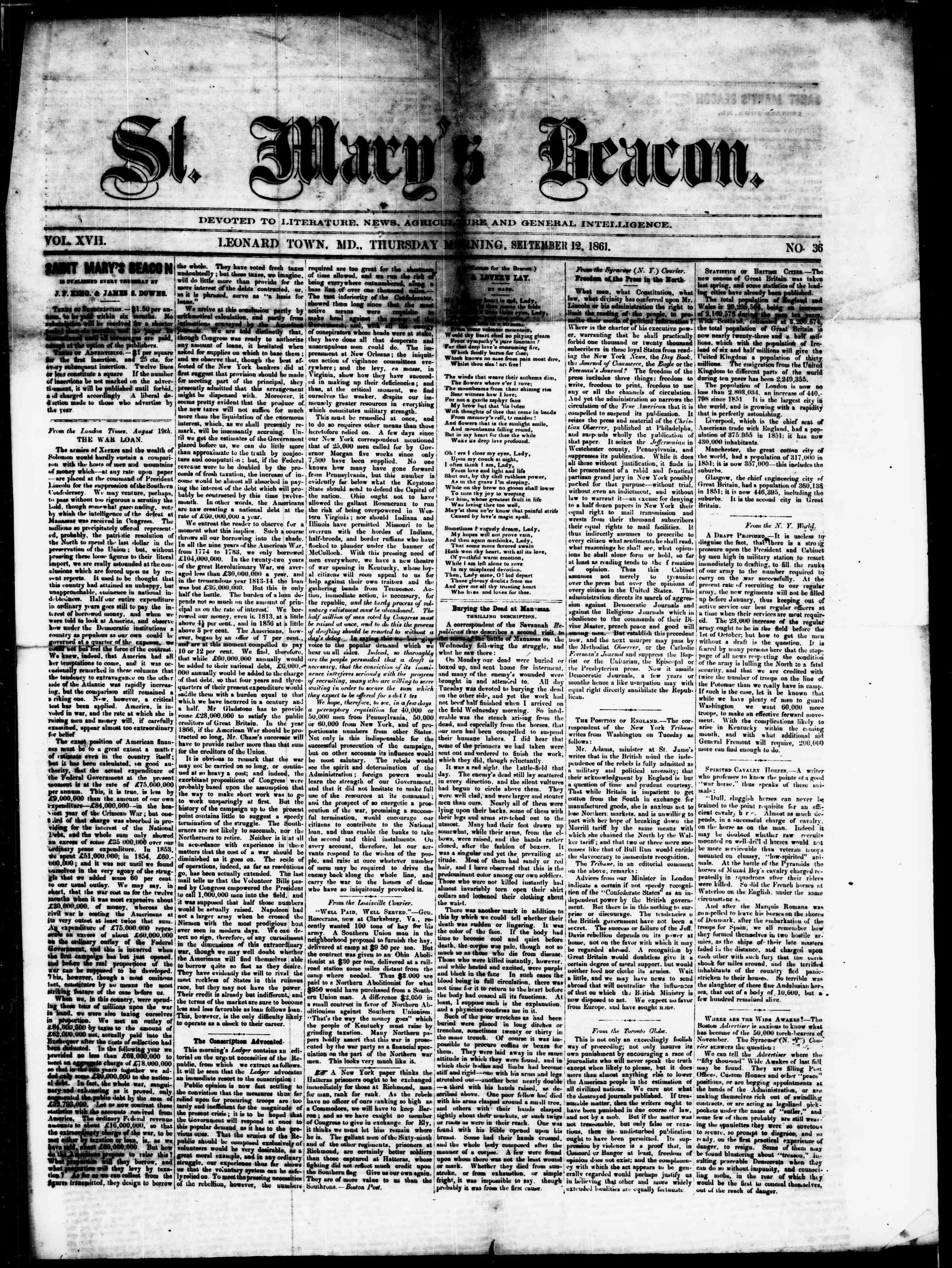 Newspaper of St. Mary's Beacon dated September 12, 1861 Page 1