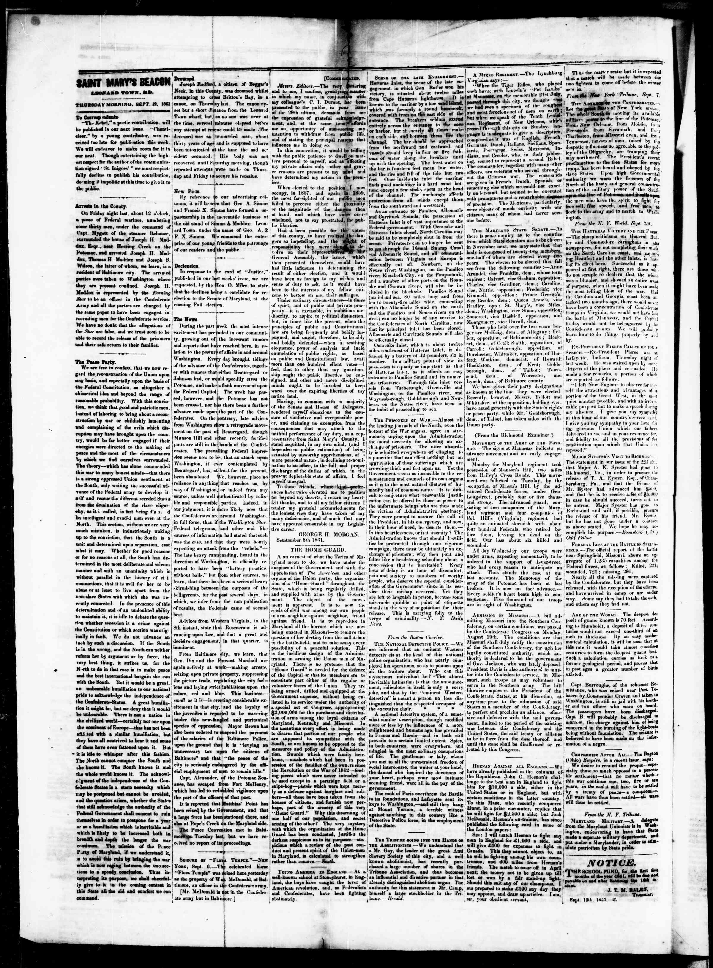 Newspaper of St. Mary's Beacon dated September 12, 1861 Page 2