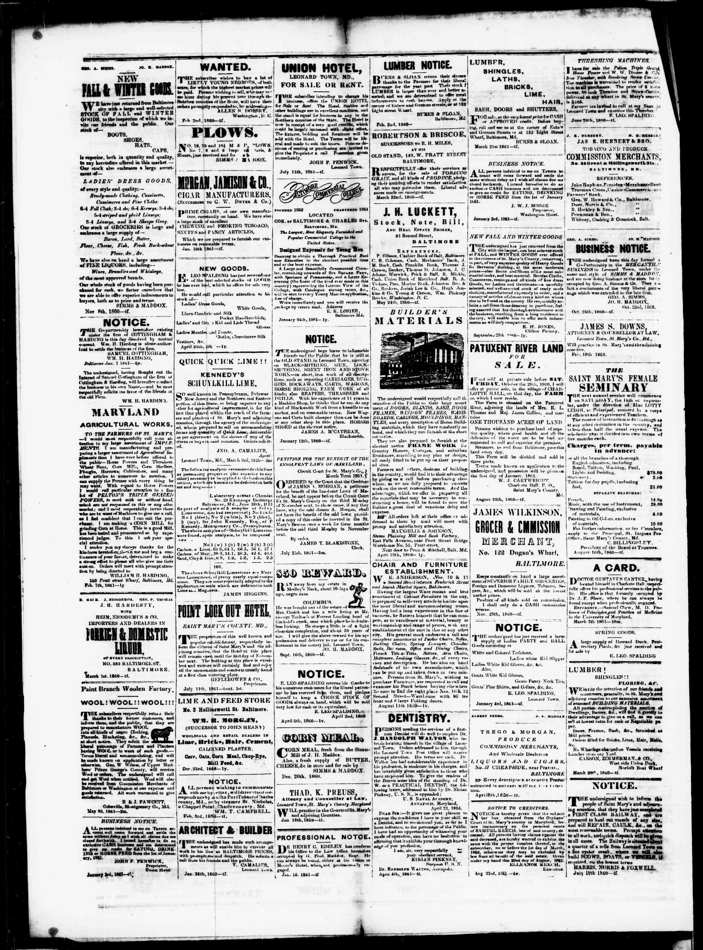 Newspaper of St. Mary's Beacon dated September 12, 1861 Page 4