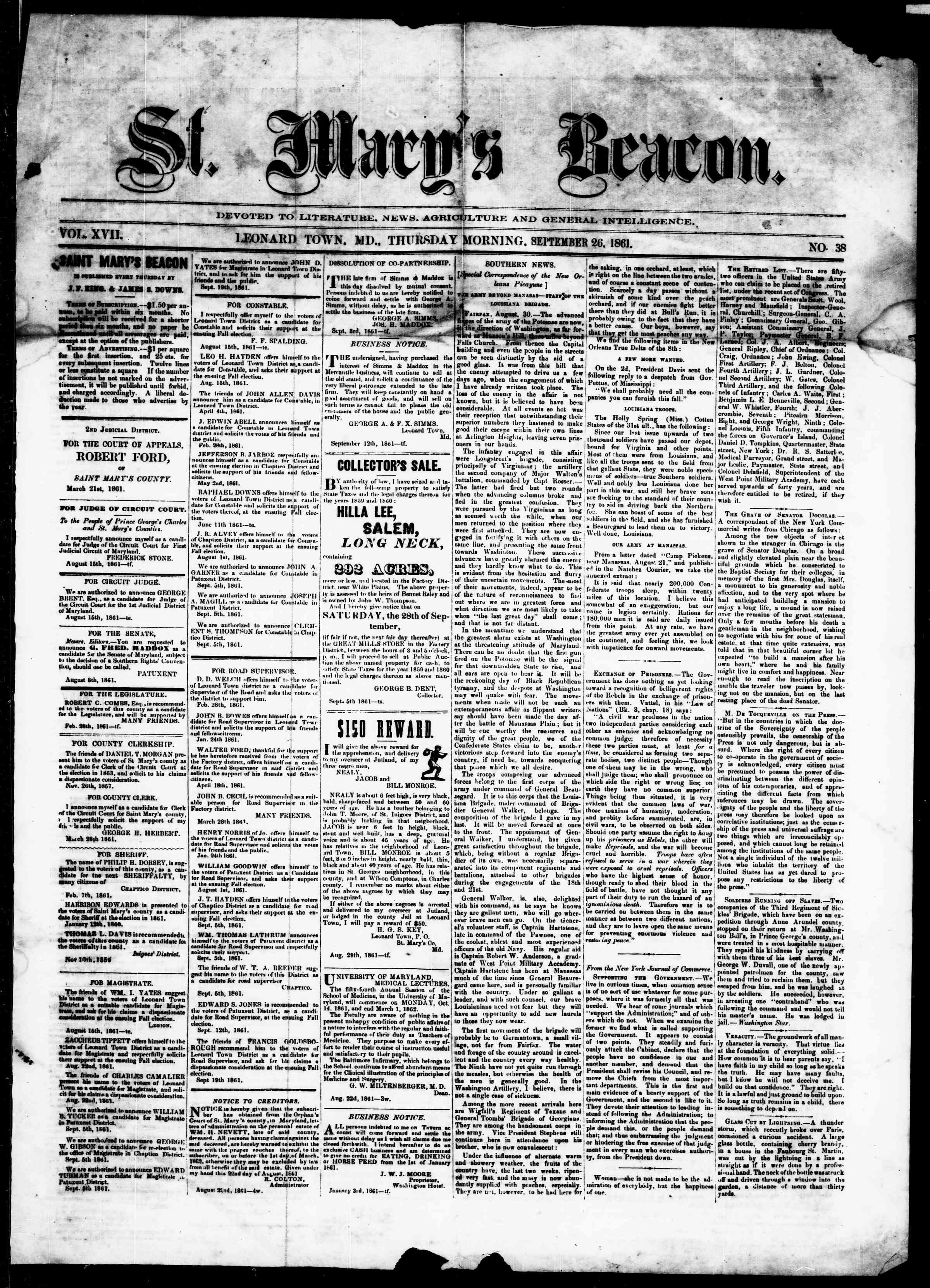 Newspaper of St. Mary's Beacon dated September 26, 1861 Page 1