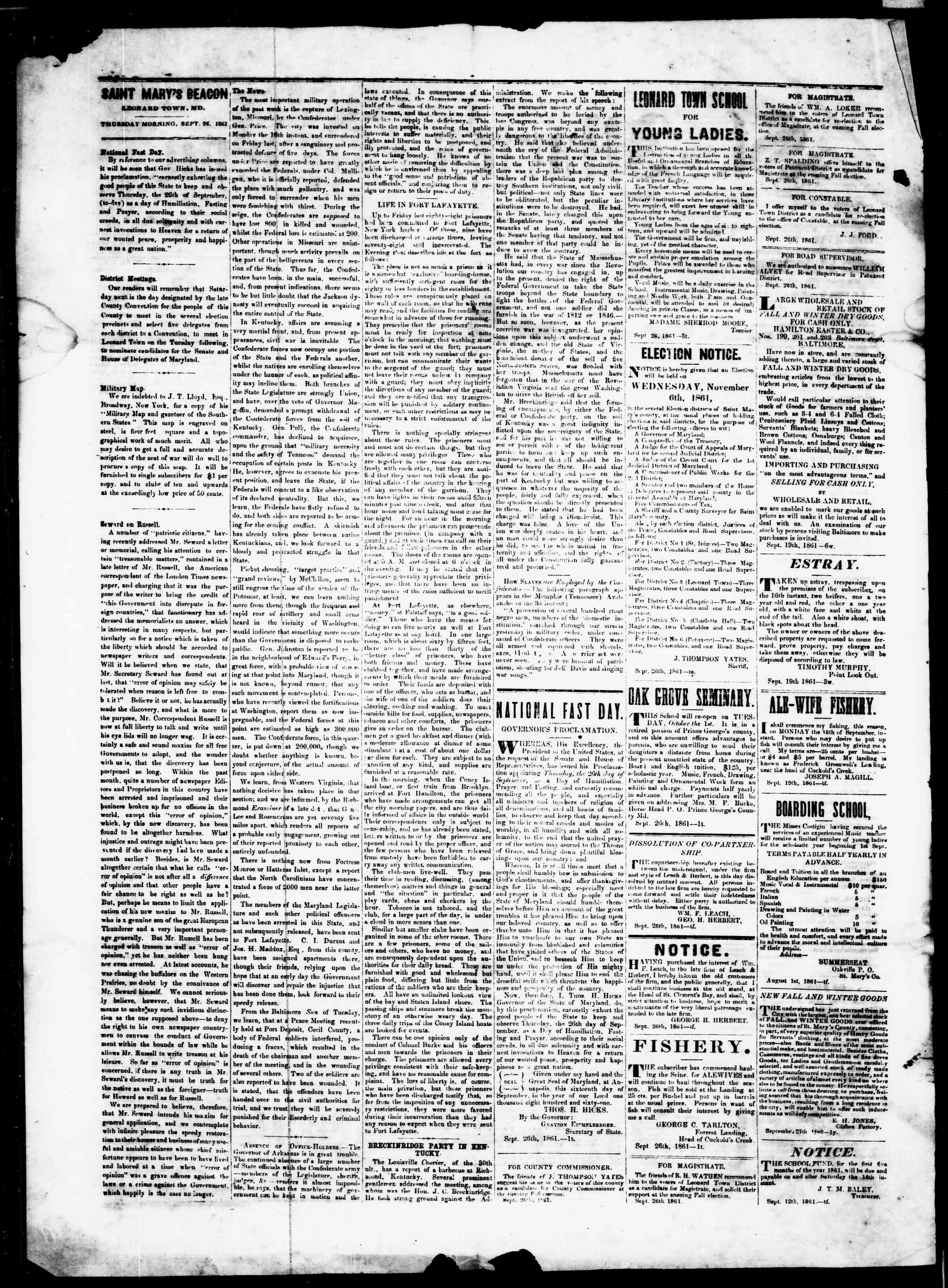 Newspaper of St. Mary's Beacon dated September 26, 1861 Page 2