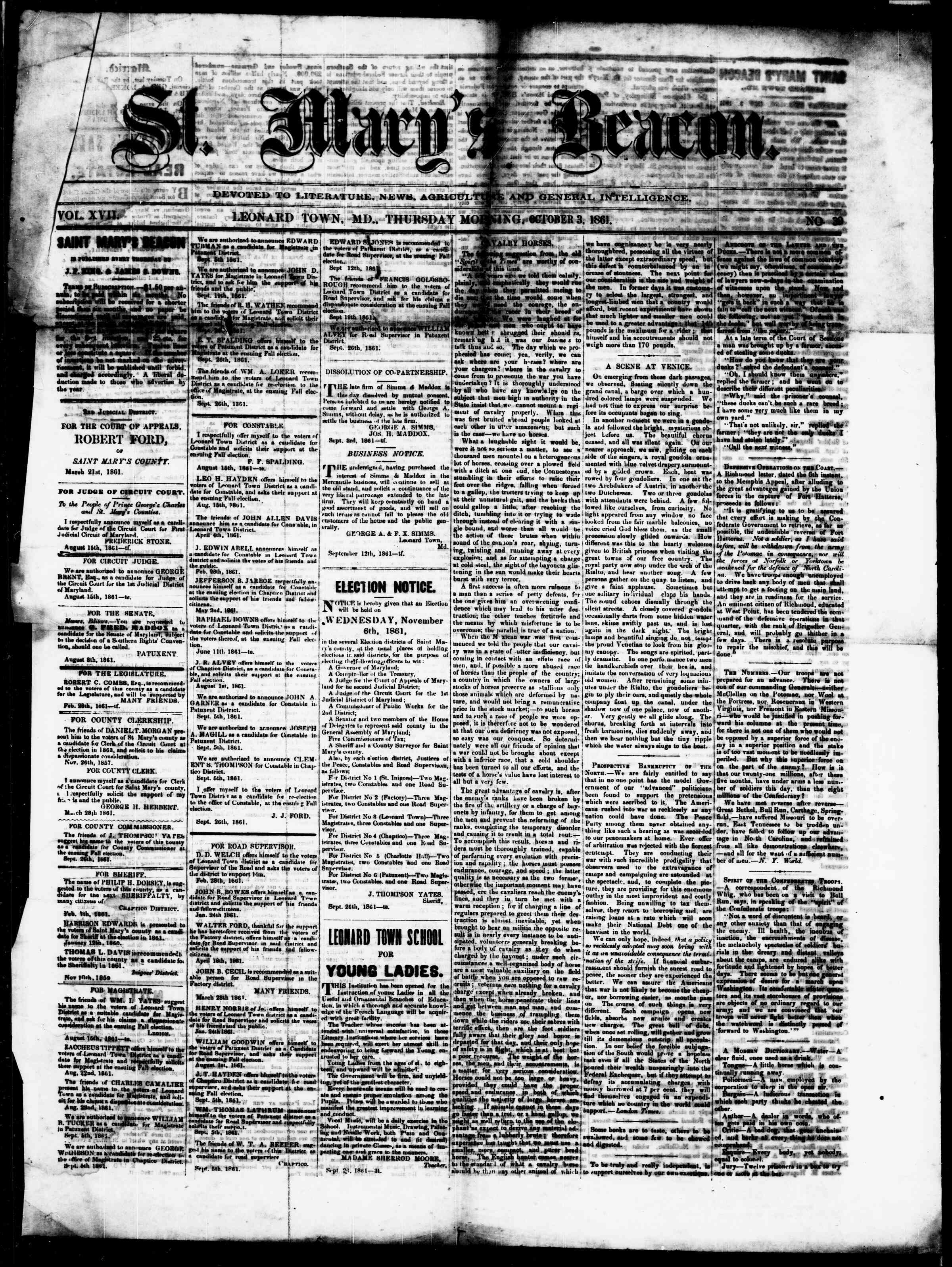 Newspaper of St. Mary's Beacon dated October 3, 1861 Page 1