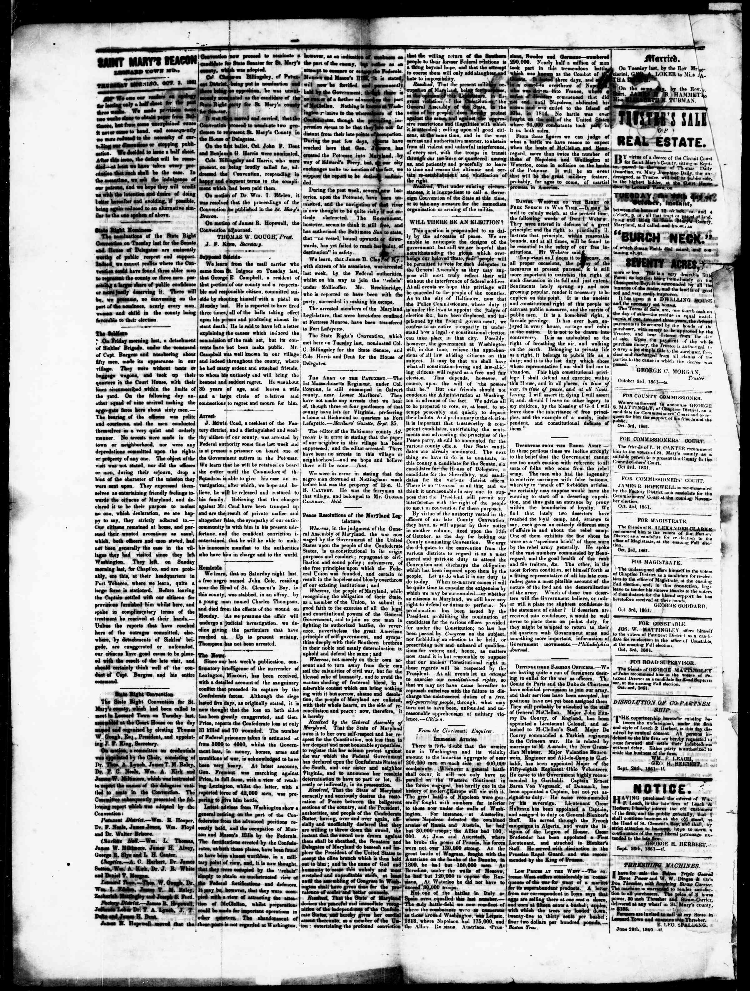 Newspaper of St. Mary's Beacon dated October 3, 1861 Page 2