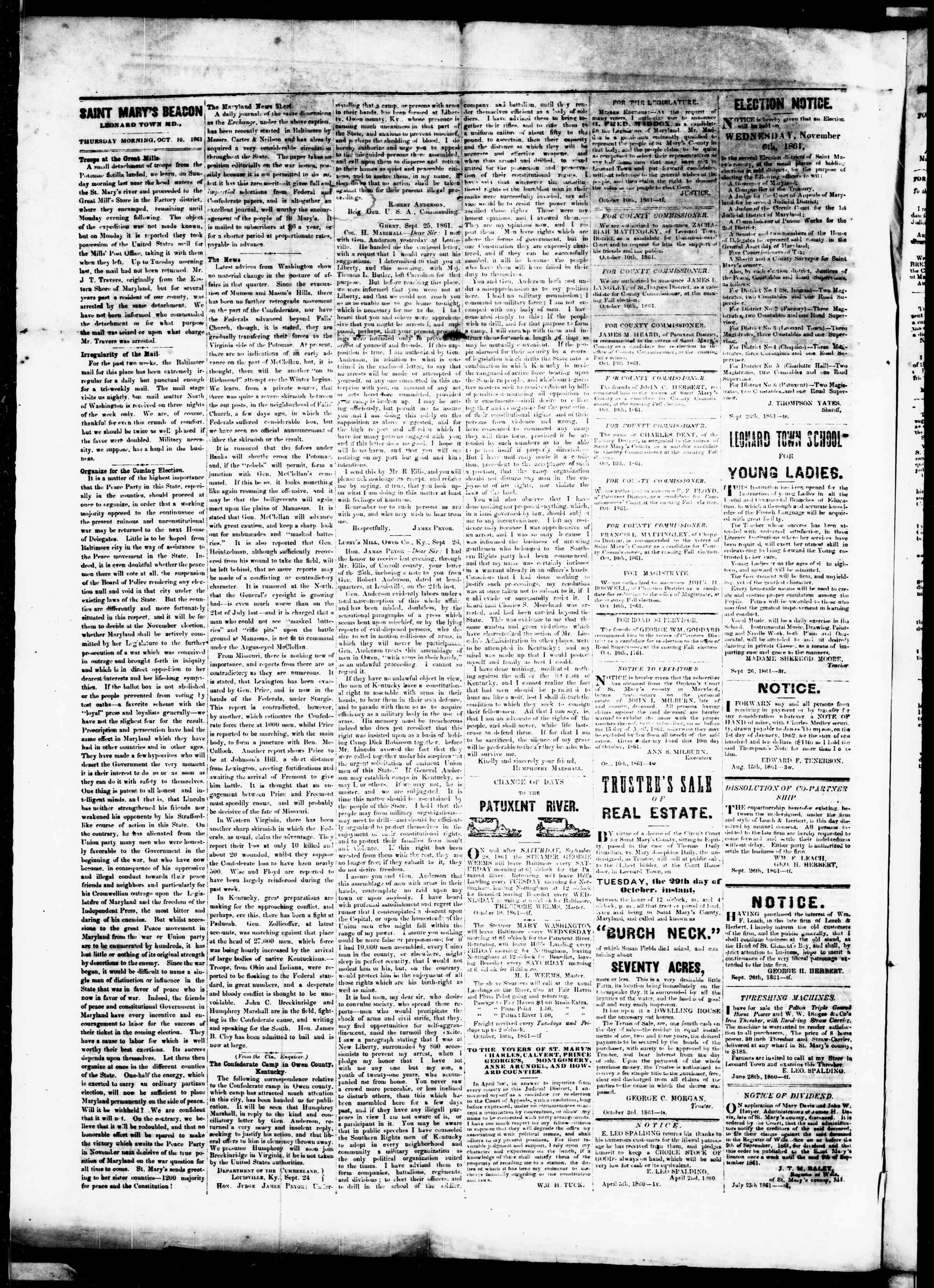 Newspaper of St. Mary's Beacon dated October 10, 1861 Page 2