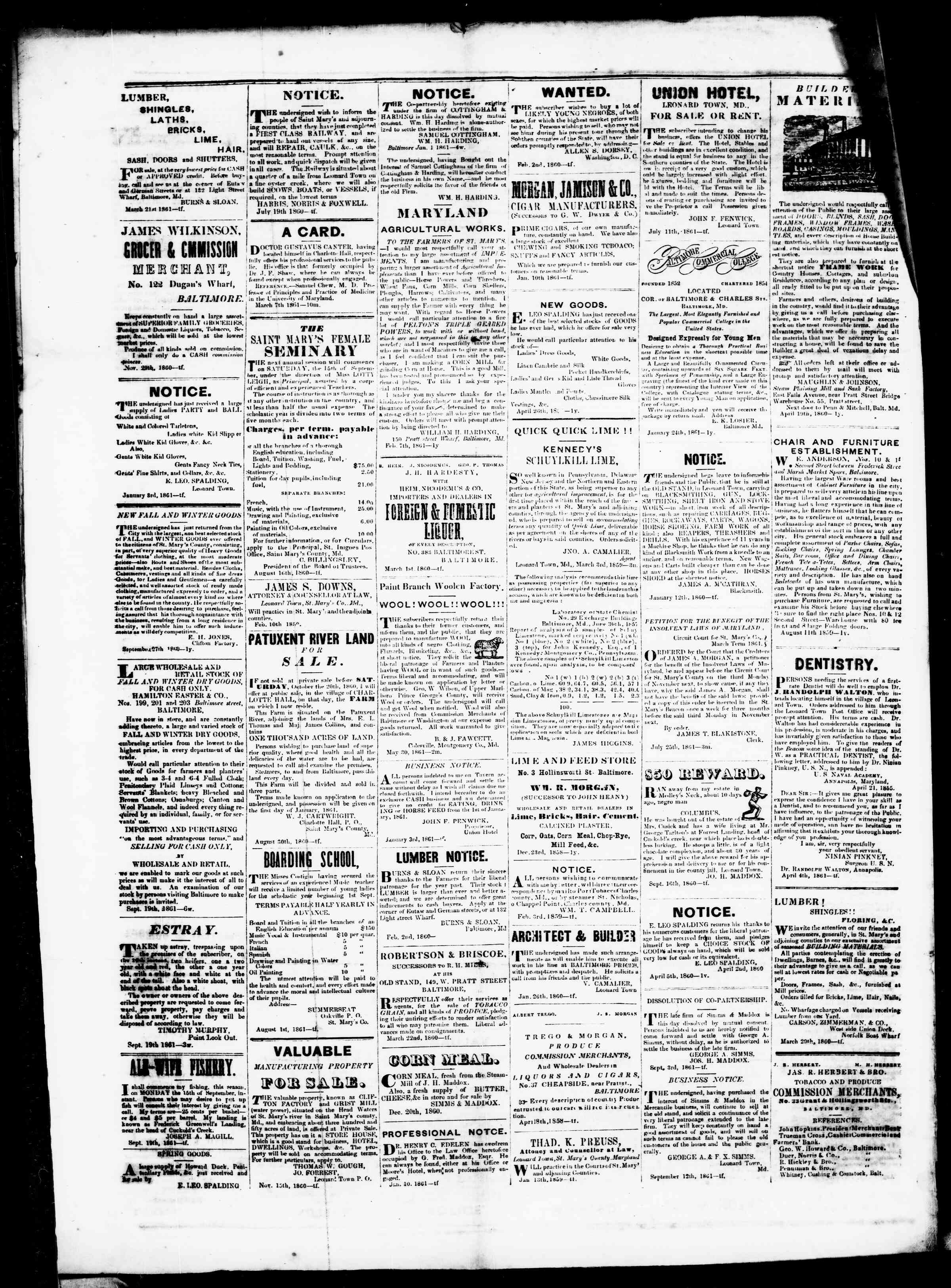 Newspaper of St. Mary's Beacon dated October 10, 1861 Page 4