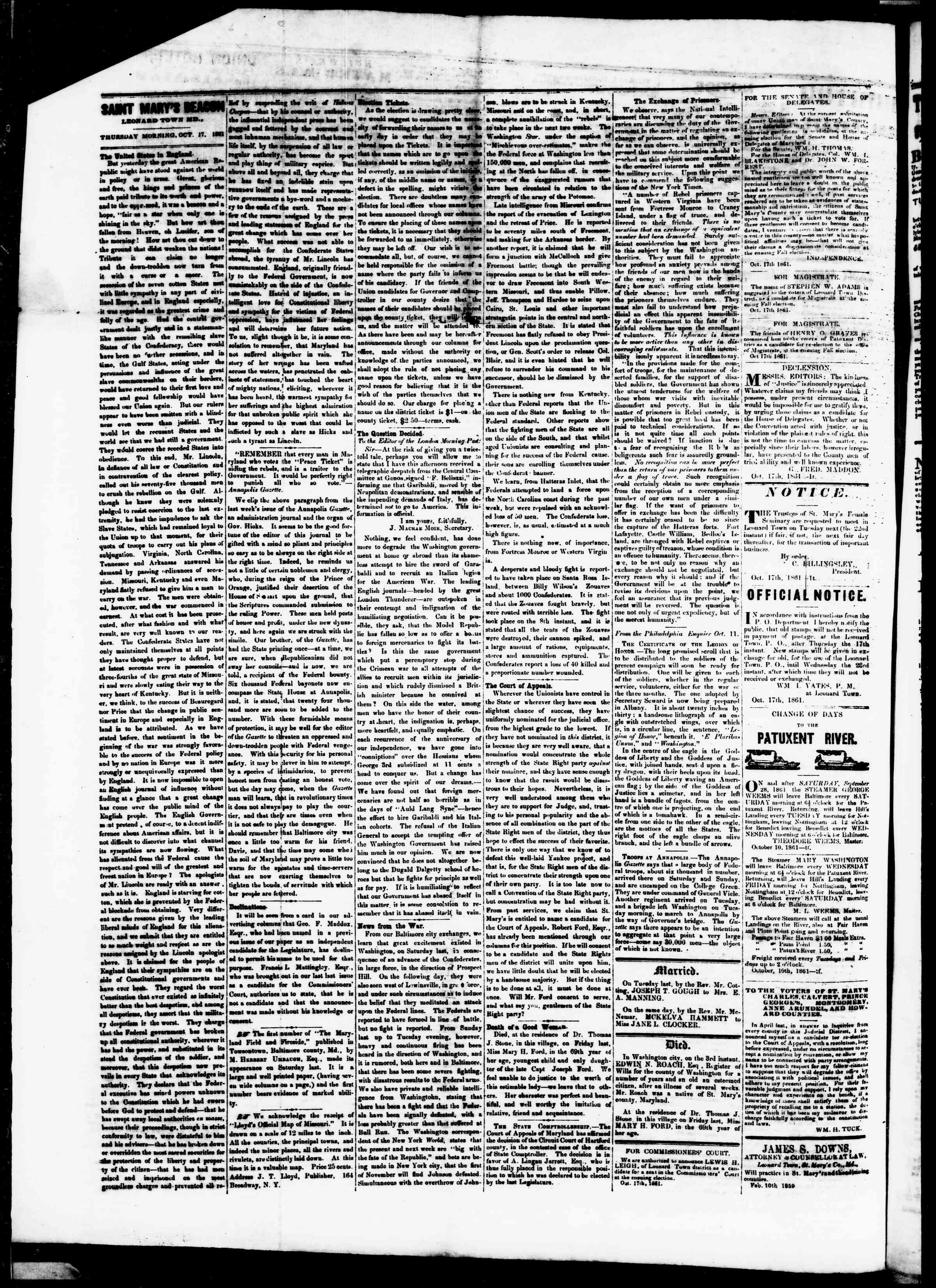 Newspaper of St. Mary's Beacon dated October 17, 1861 Page 2