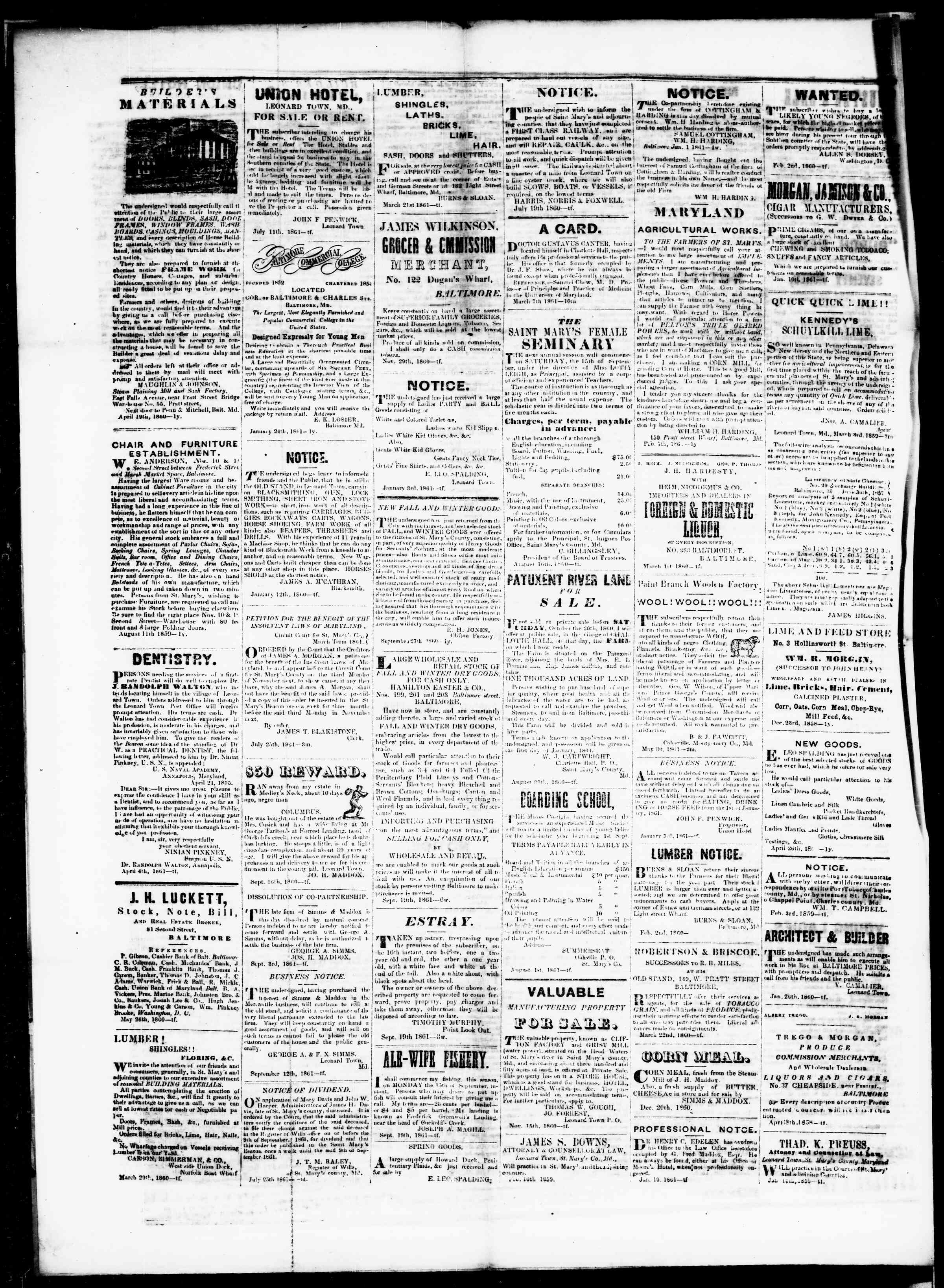 Newspaper of St. Mary's Beacon dated October 17, 1861 Page 4