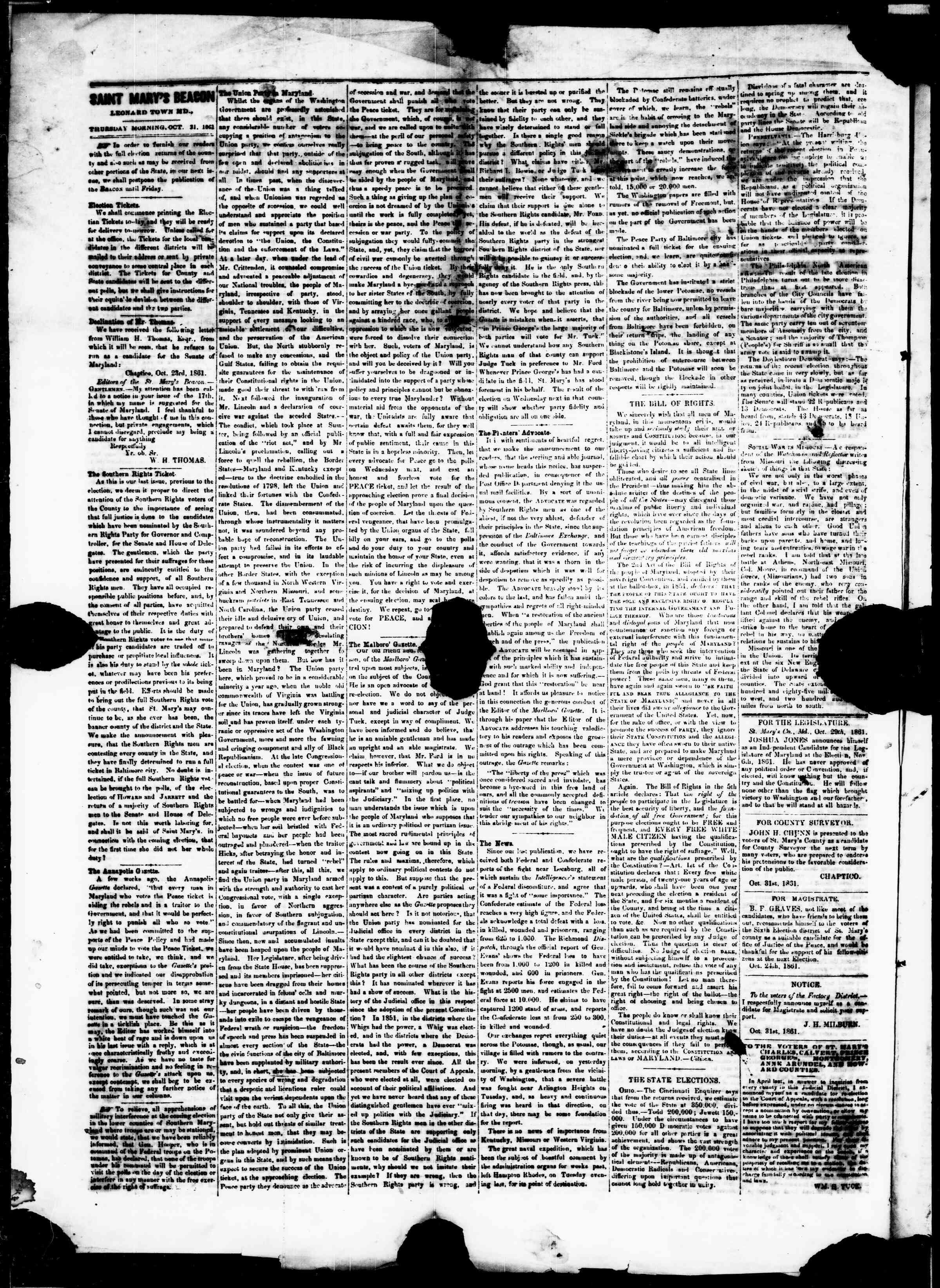 Newspaper of St. Mary's Beacon dated October 31, 1861 Page 2