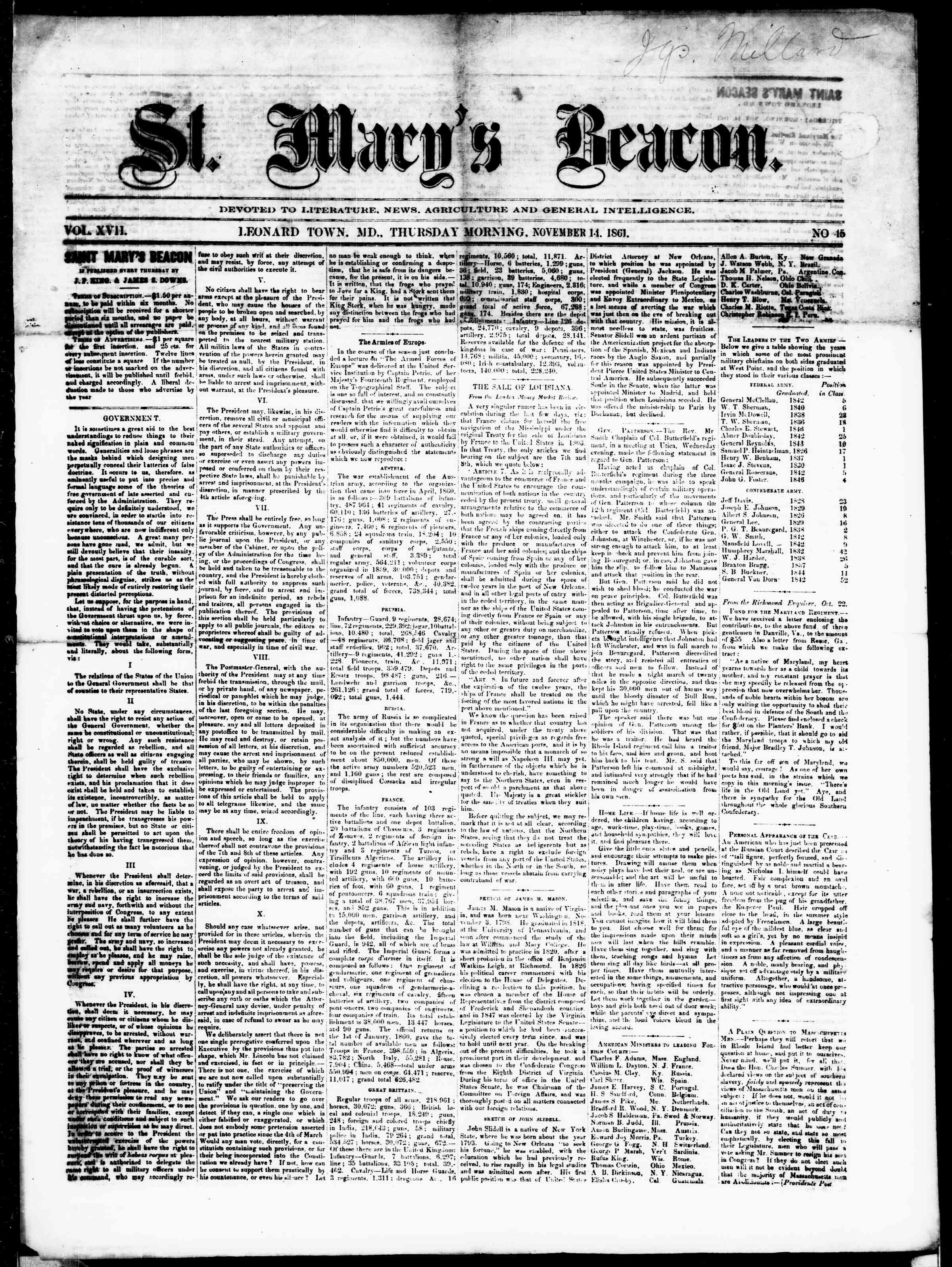 Newspaper of St. Mary's Beacon dated November 14, 1861 Page 1