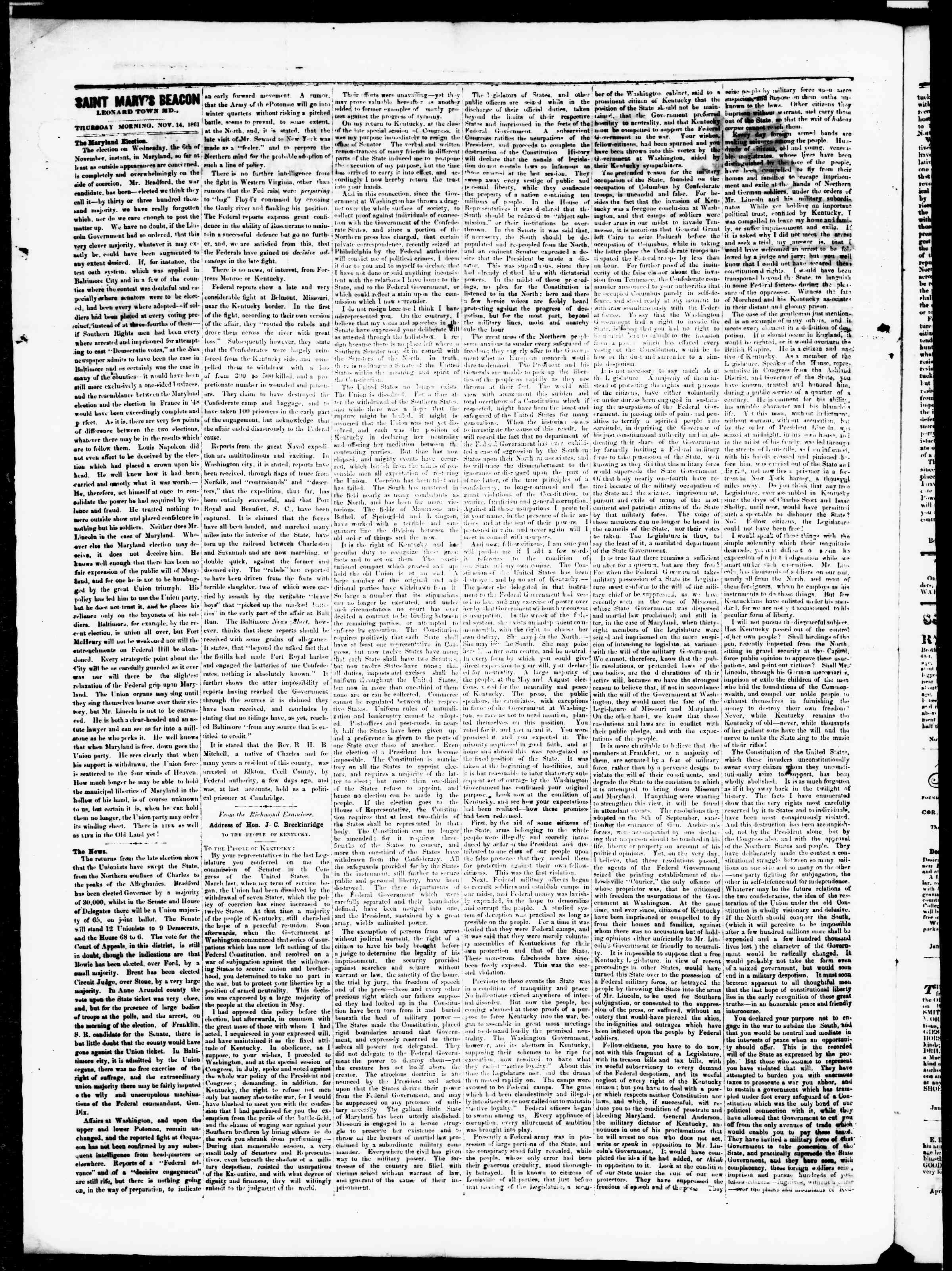 Newspaper of St. Mary's Beacon dated November 14, 1861 Page 2