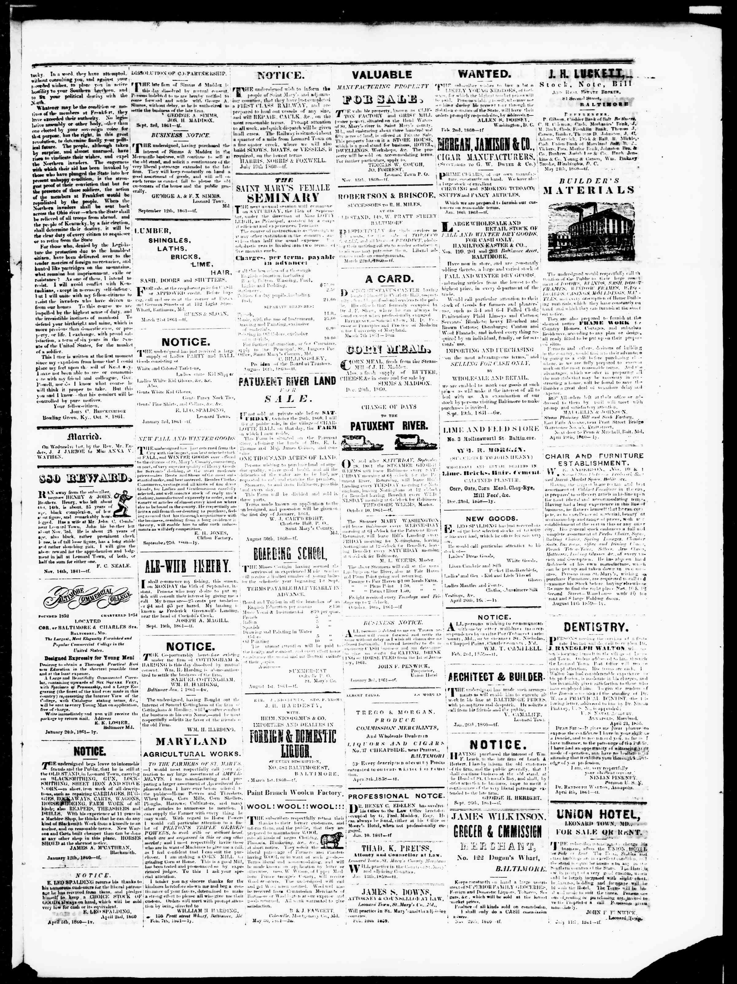 Newspaper of St. Mary's Beacon dated November 14, 1861 Page 3