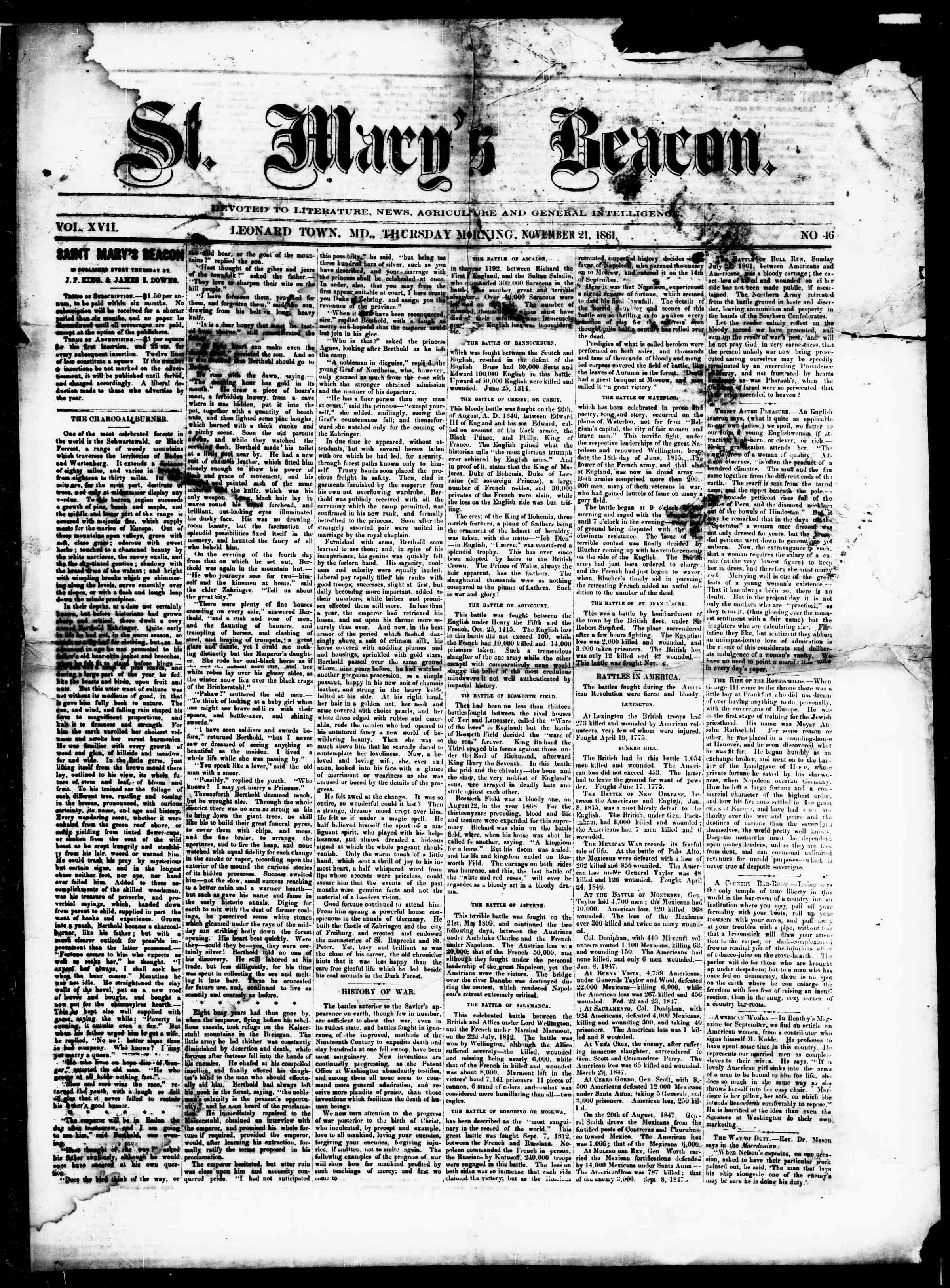Newspaper of St. Mary's Beacon dated November 21, 1861 Page 1