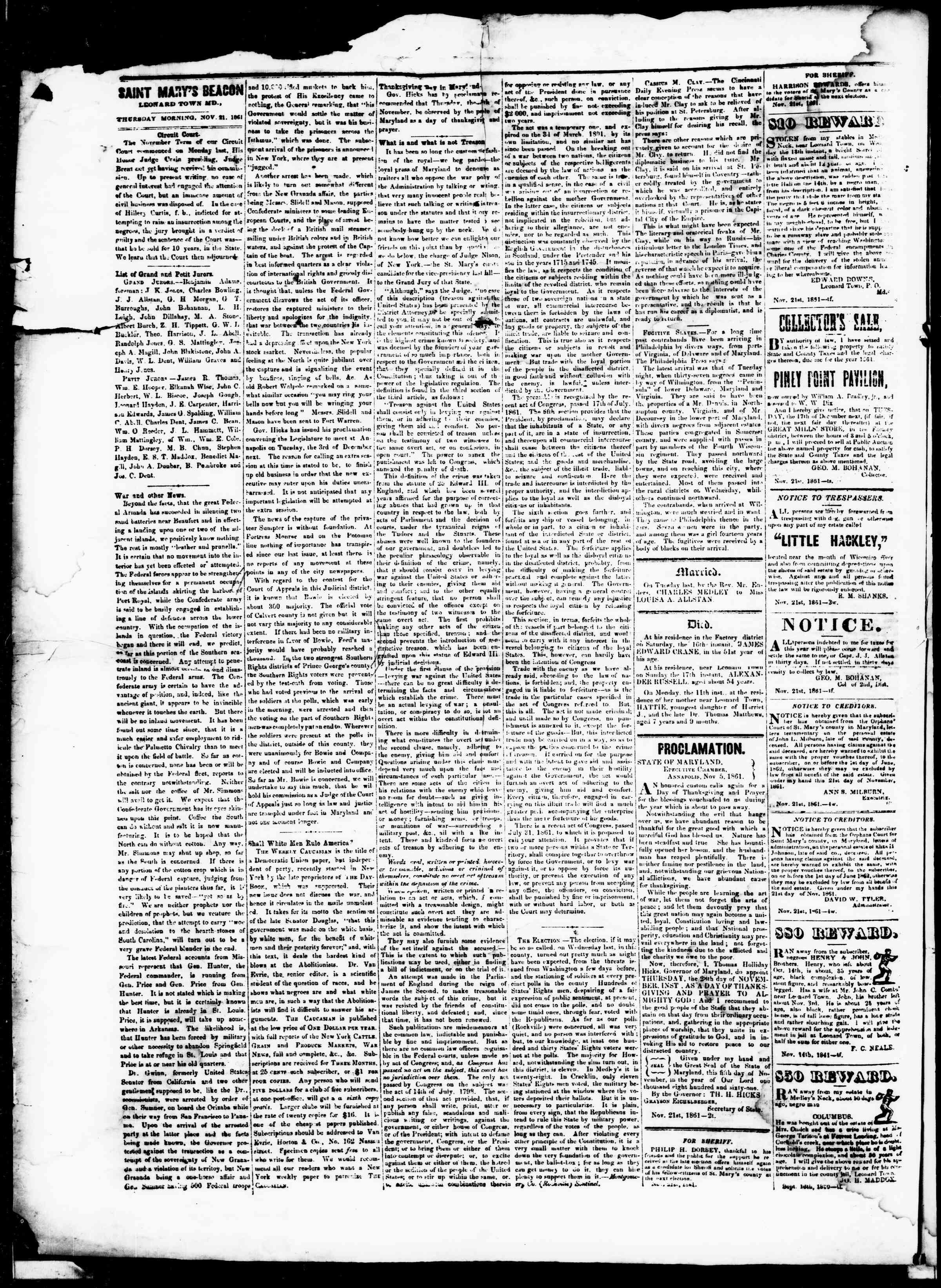 Newspaper of St. Mary's Beacon dated November 21, 1861 Page 2
