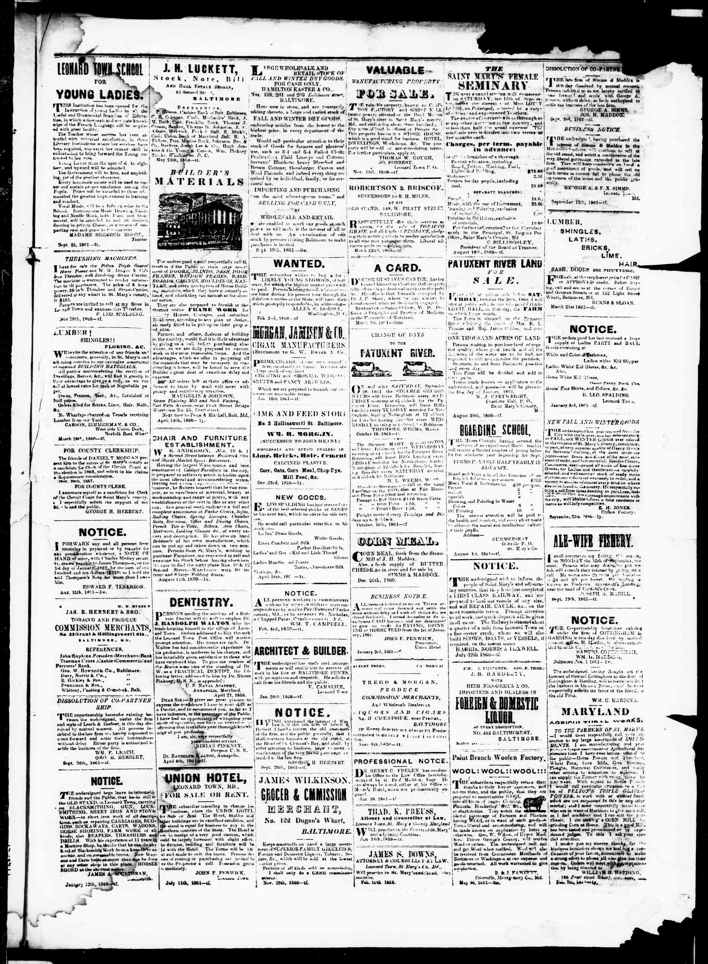 Newspaper of St. Mary's Beacon dated November 21, 1861 Page 3