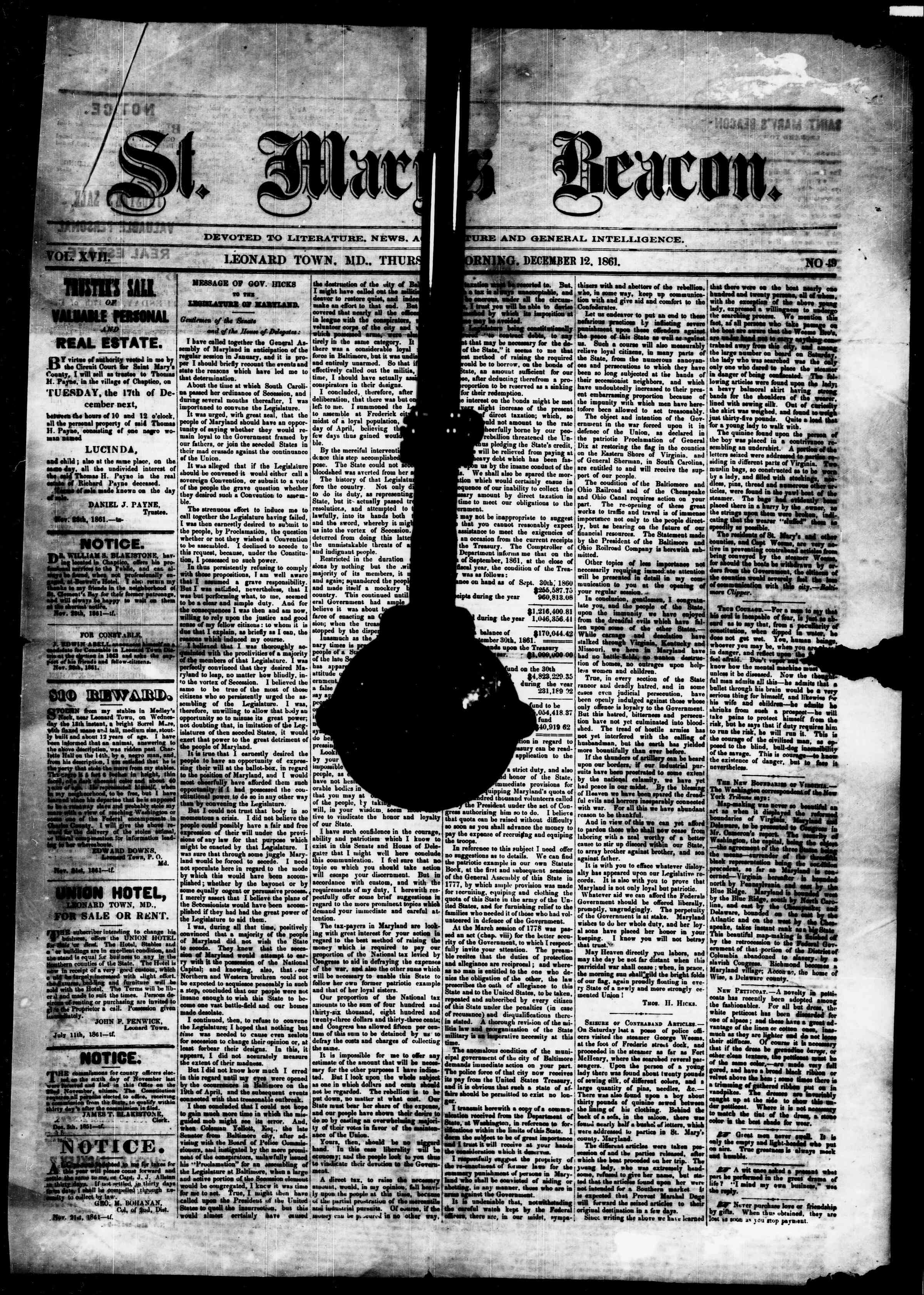 Newspaper of St. Mary's Beacon dated December 12, 1861 Page 1