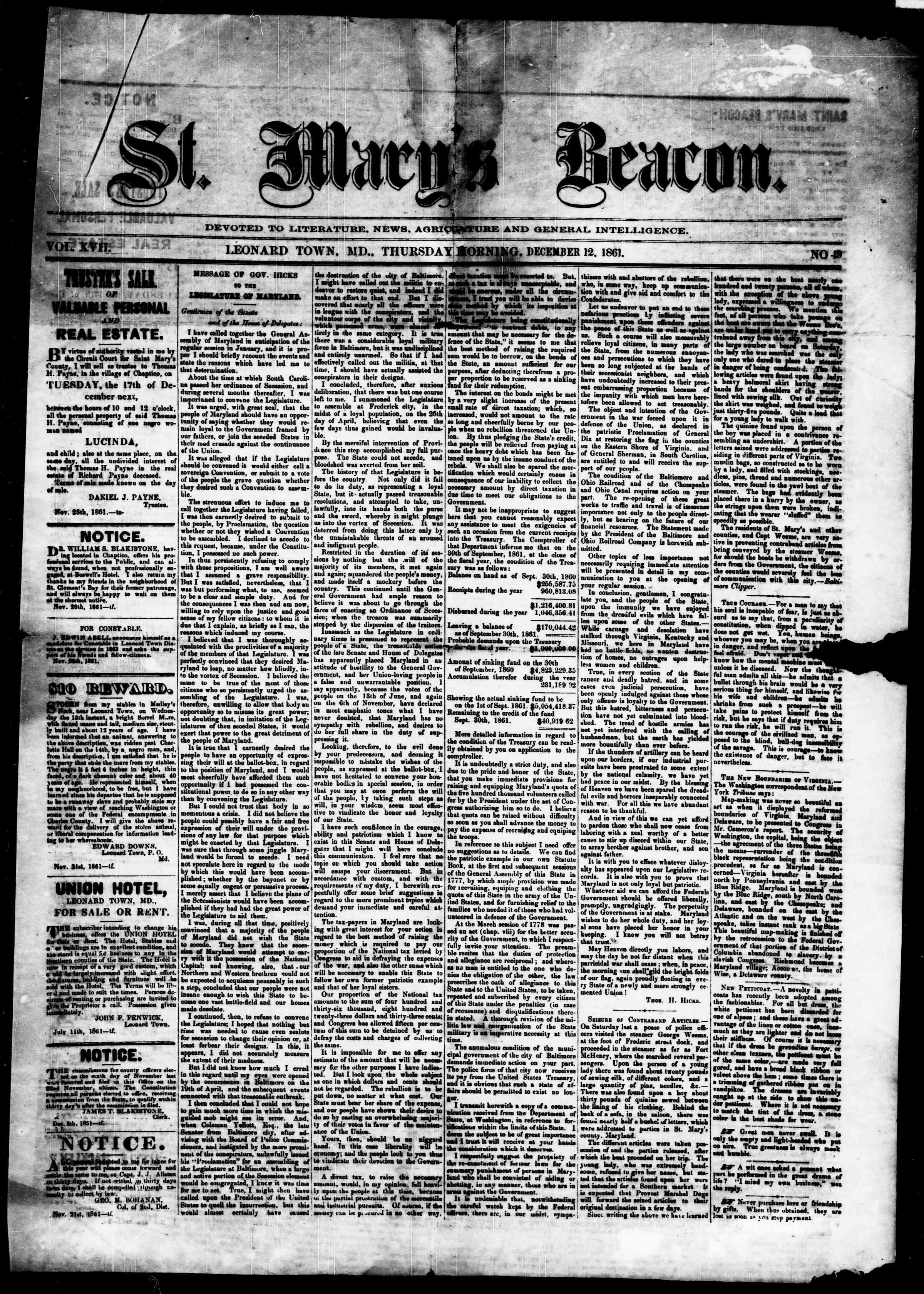 Newspaper of St. Mary's Beacon dated December 12, 1861 Page 2